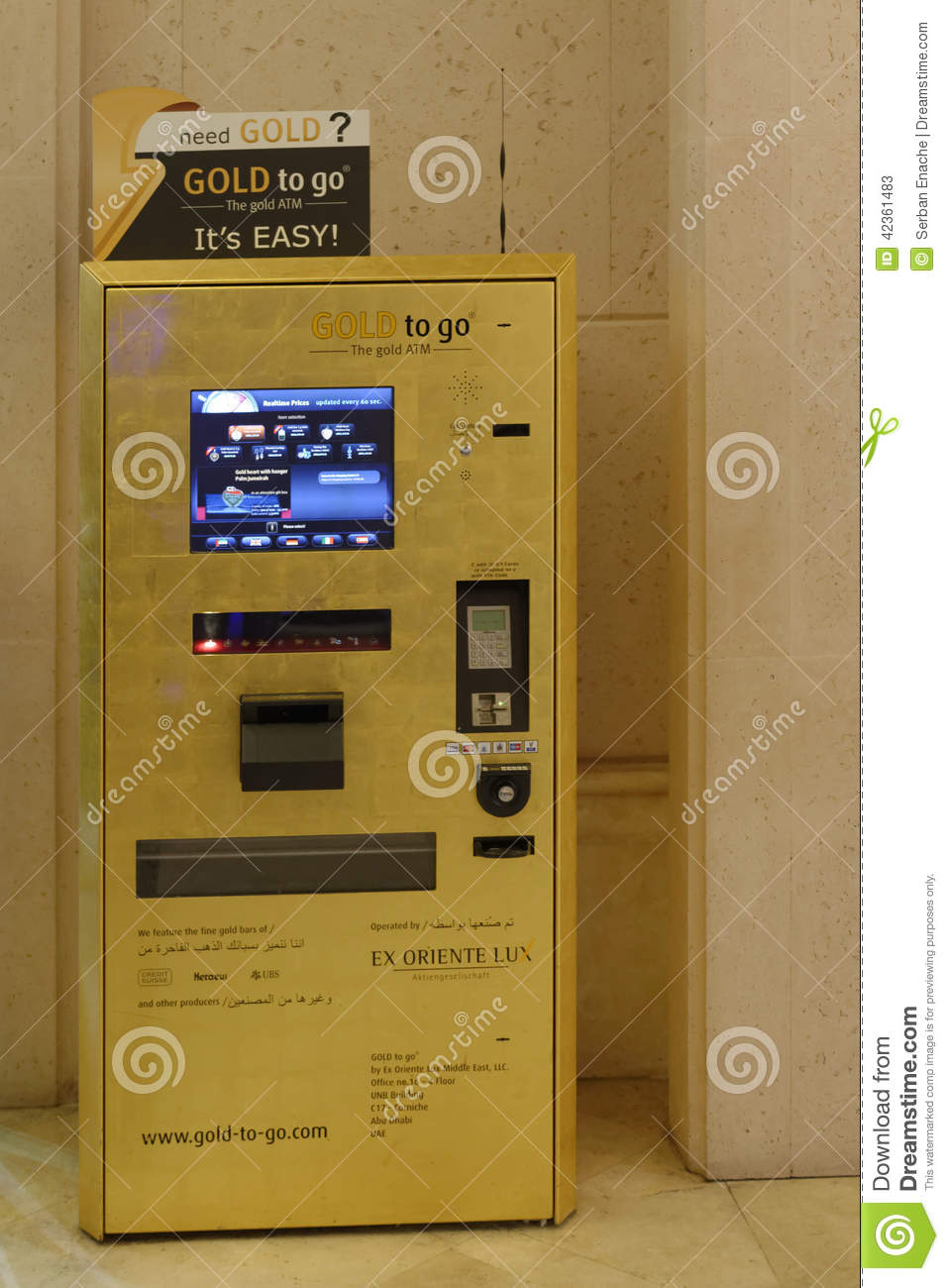 gold atm in dubai editorial stock photo image 42361483. Black Bedroom Furniture Sets. Home Design Ideas