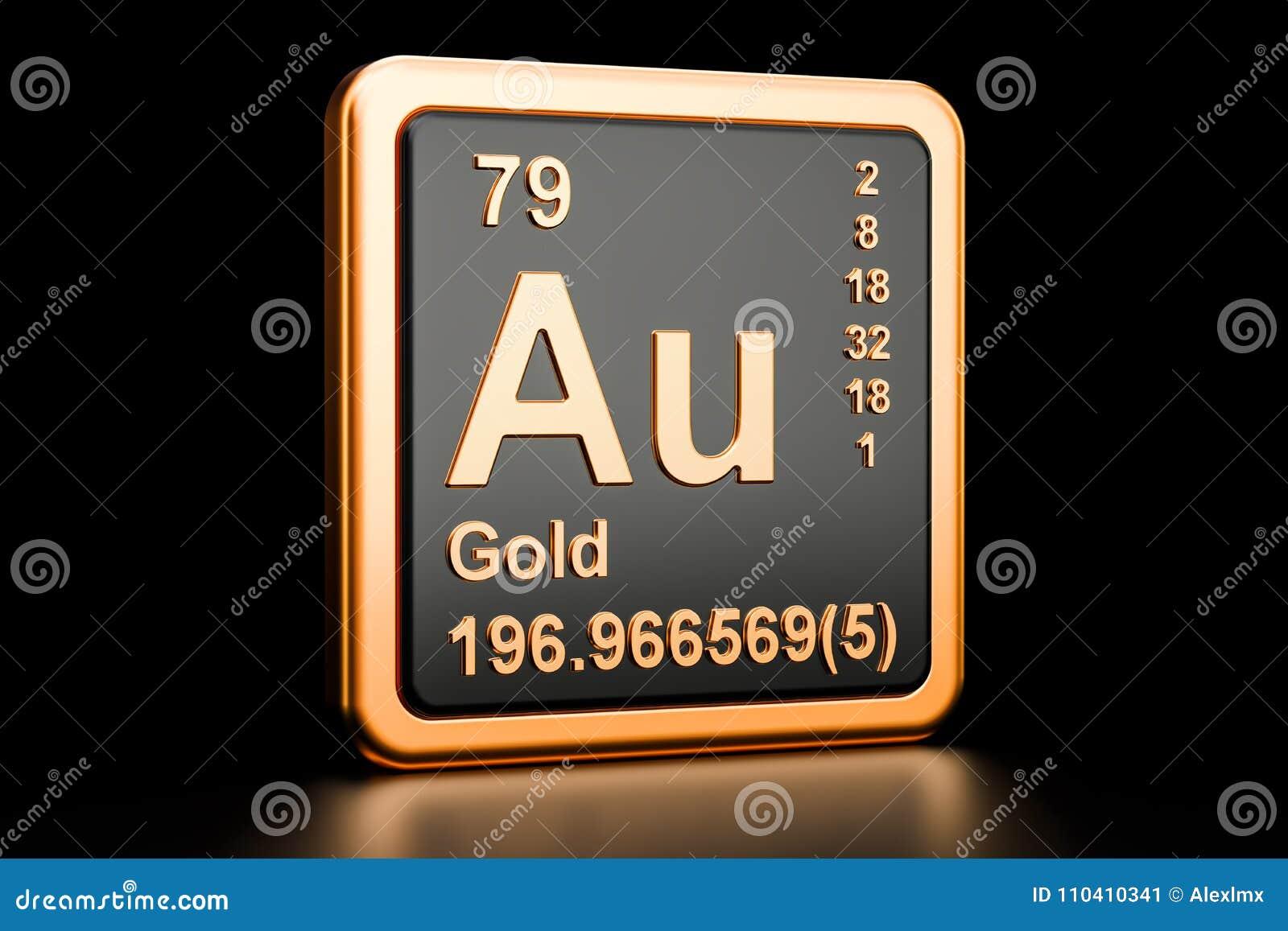 Gold Aurum Au Chemical Element 3d Rendering Stock Illustration