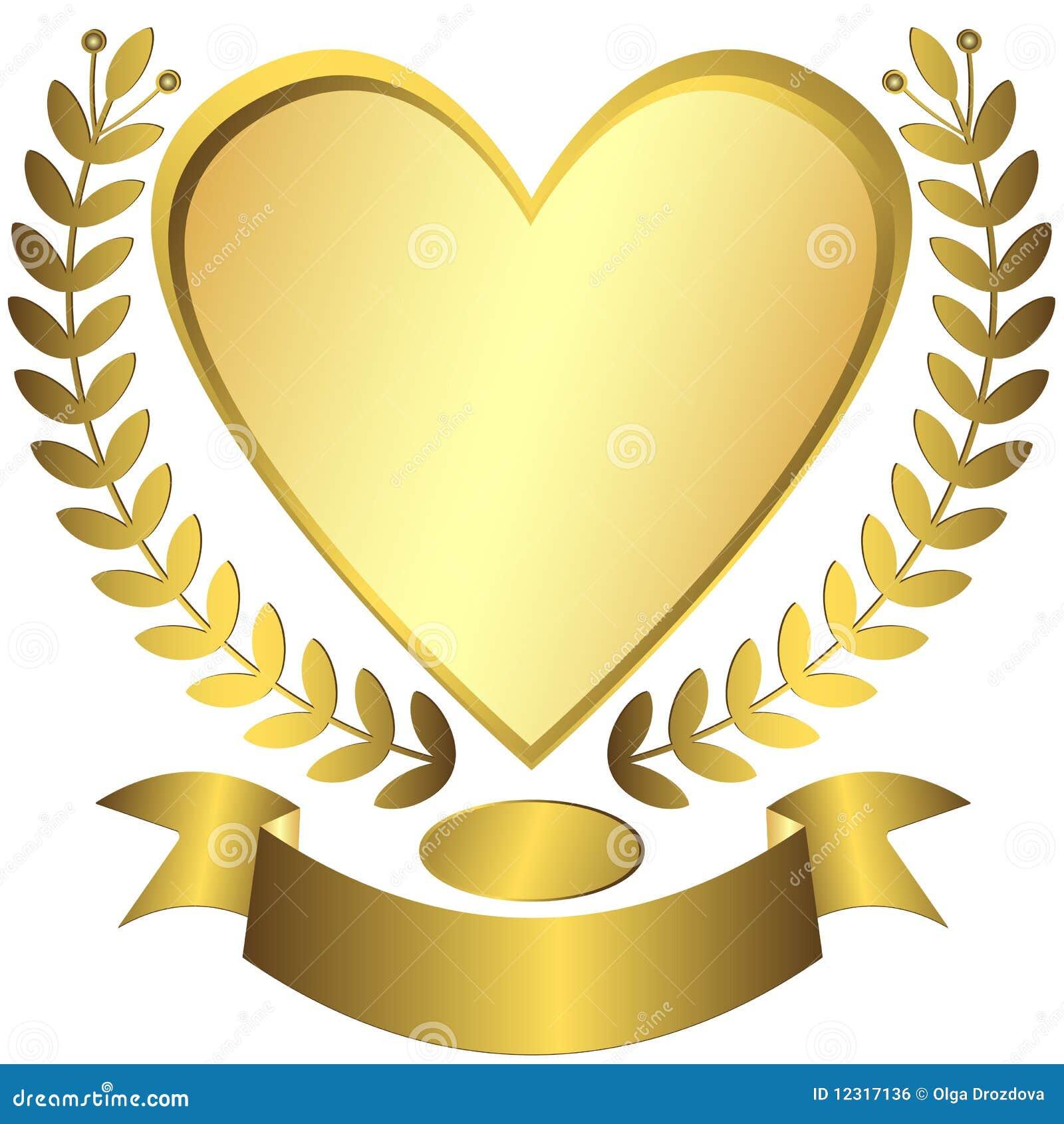 Gold Award Heart With Ribbon Vector Royalty Free Stock
