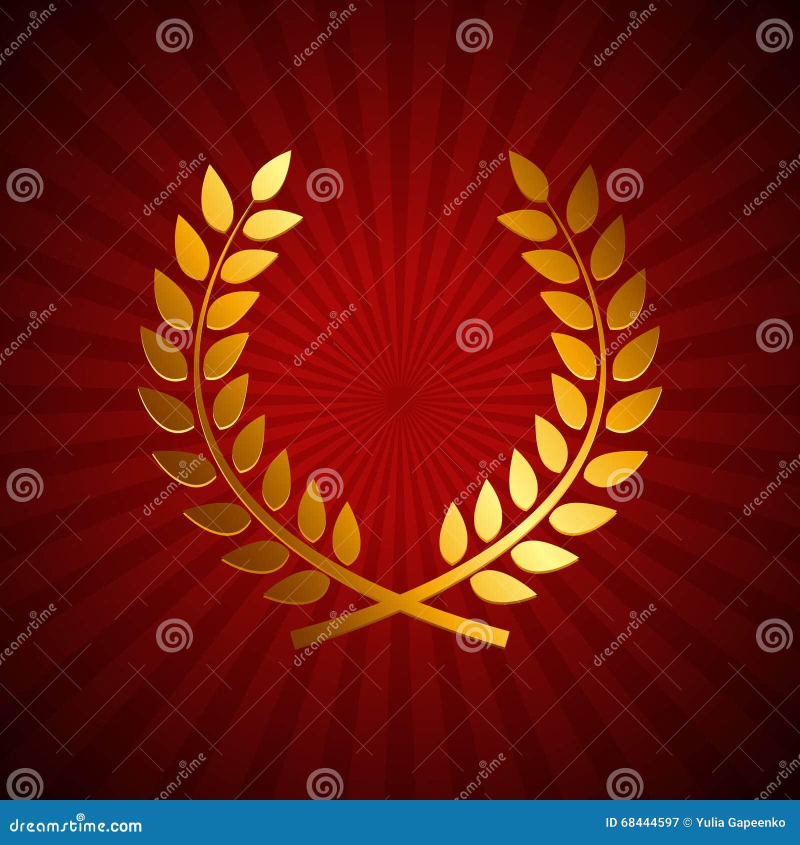 Gold Award Laurel Wreath Winner Leaf Label Symbol Of Victory