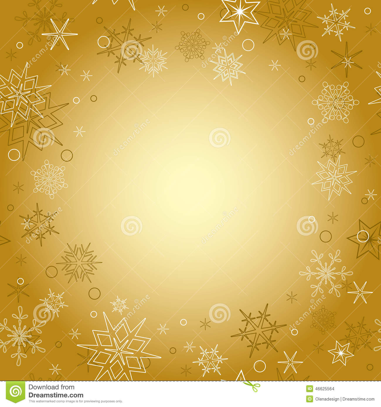 Christmas Card Background.Gold Background Vector Christmas Card With Snowflakes
