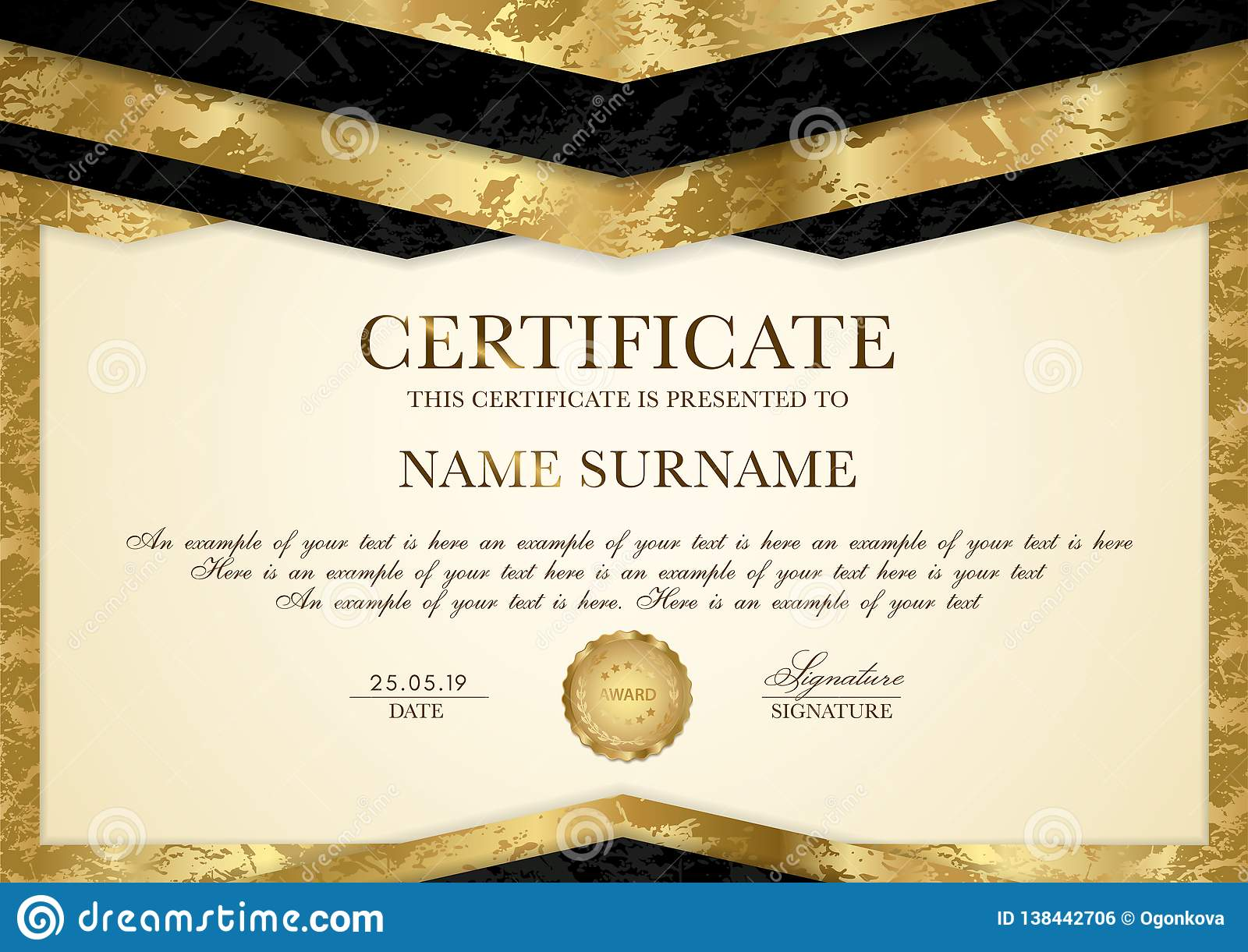Certificate Template with Geometry Frame and Gold Badge Stock For Award Of Excellence Certificate Template