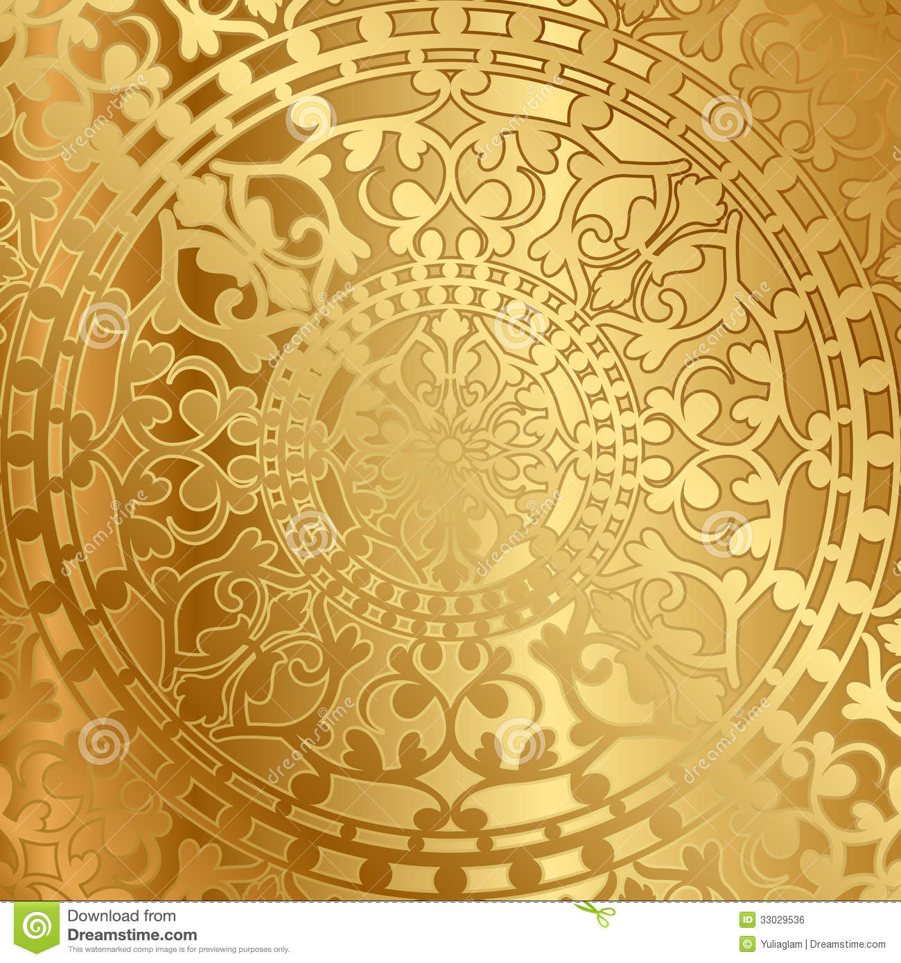 Gold background with oriental decoration stock vector for Background decoration images