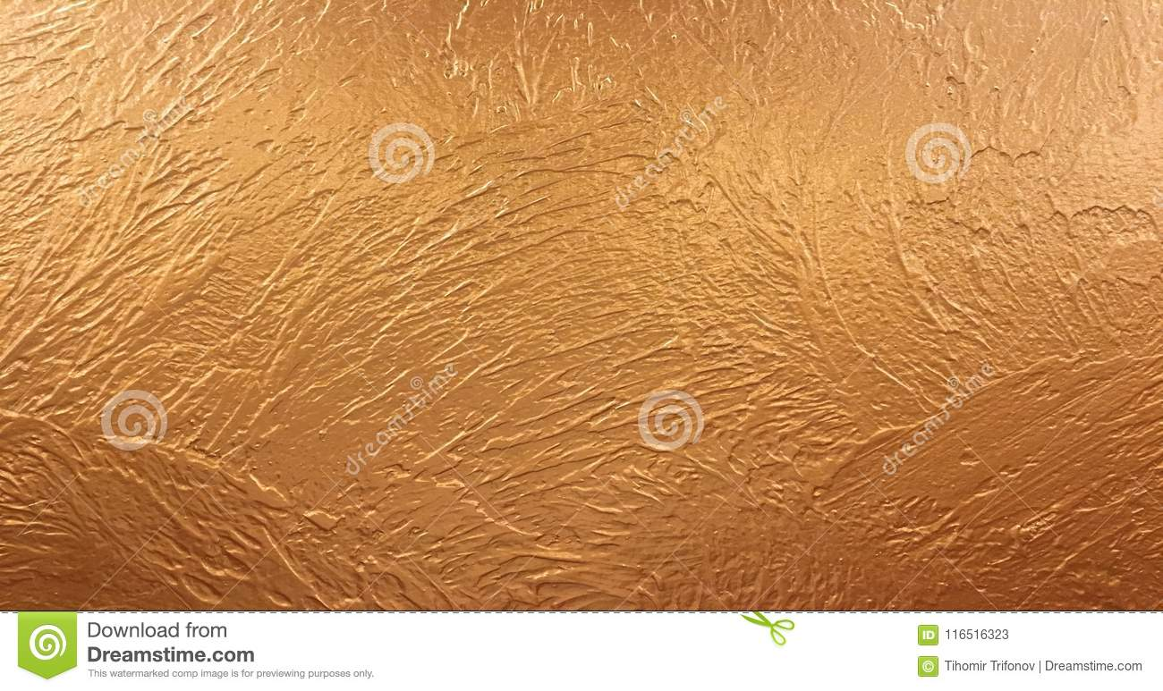 Gold background paper, texture is old vintage distressed solid glitter gold color with rough peeling grunge paint on edges.