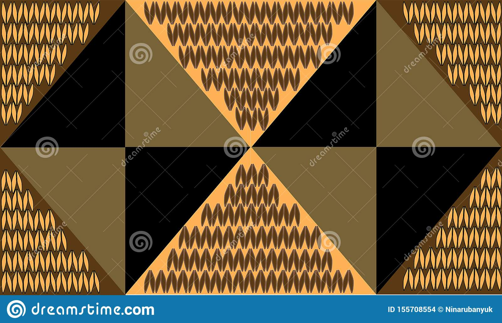 Gold background from triangles with knitting decor