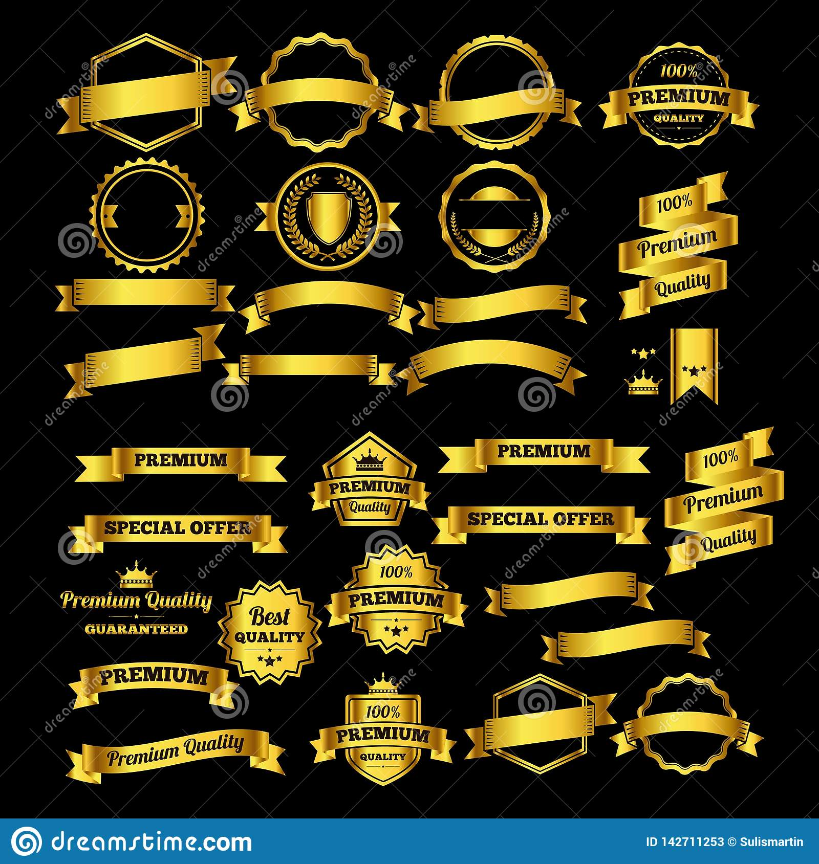 Luxury gold design badges and labels collection - logo design Vector