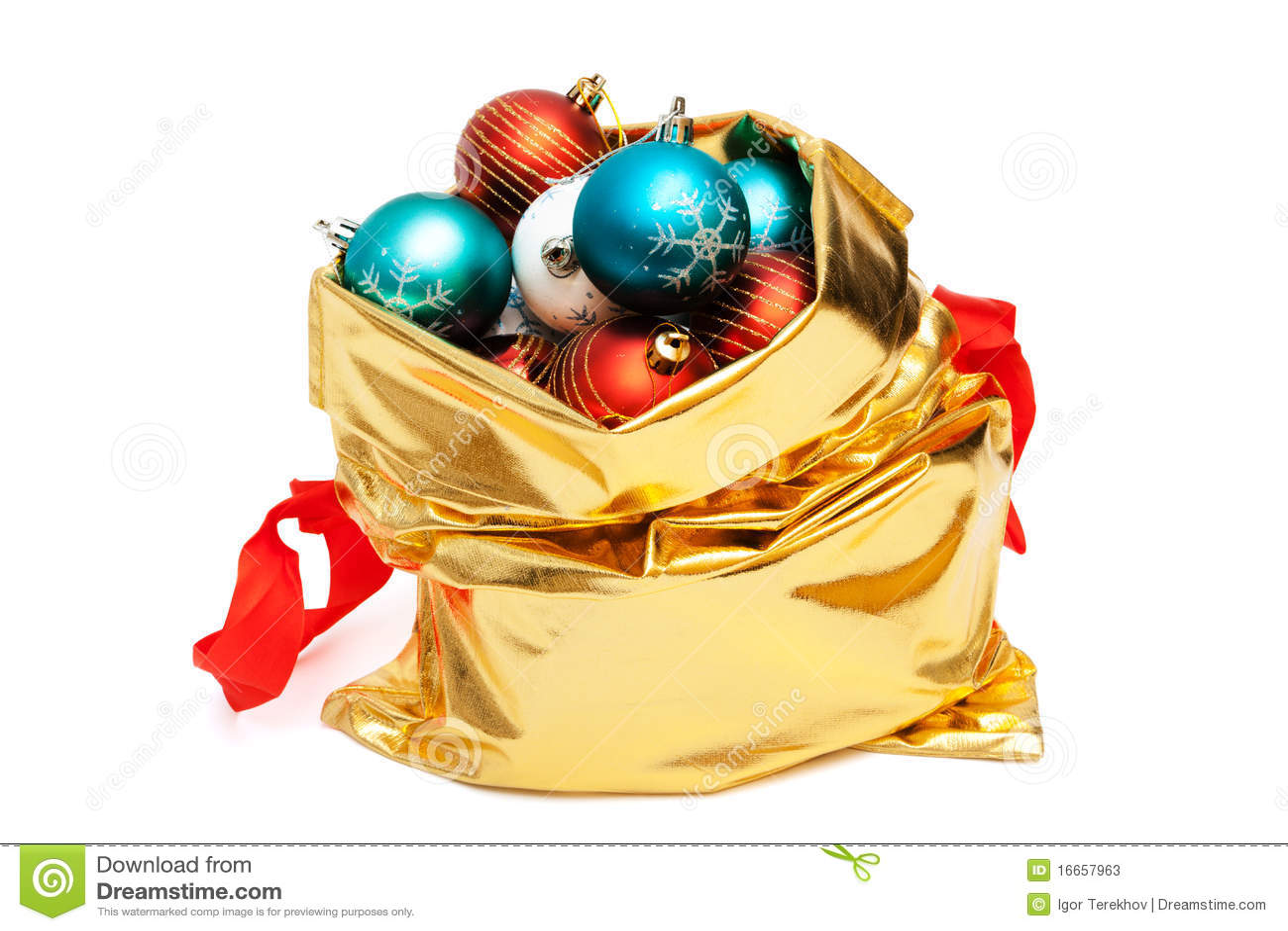 Gold bag with christmas balls stock image image of ornament
