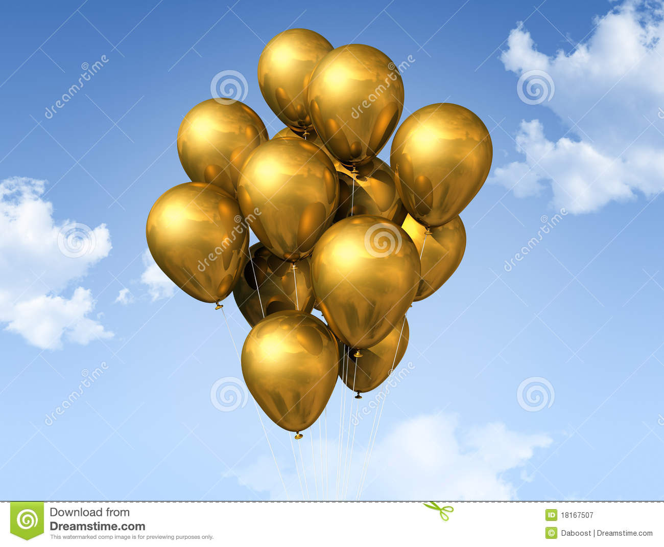 Gold balloons on a blue sky stock illustration image for Silver cloud balloons