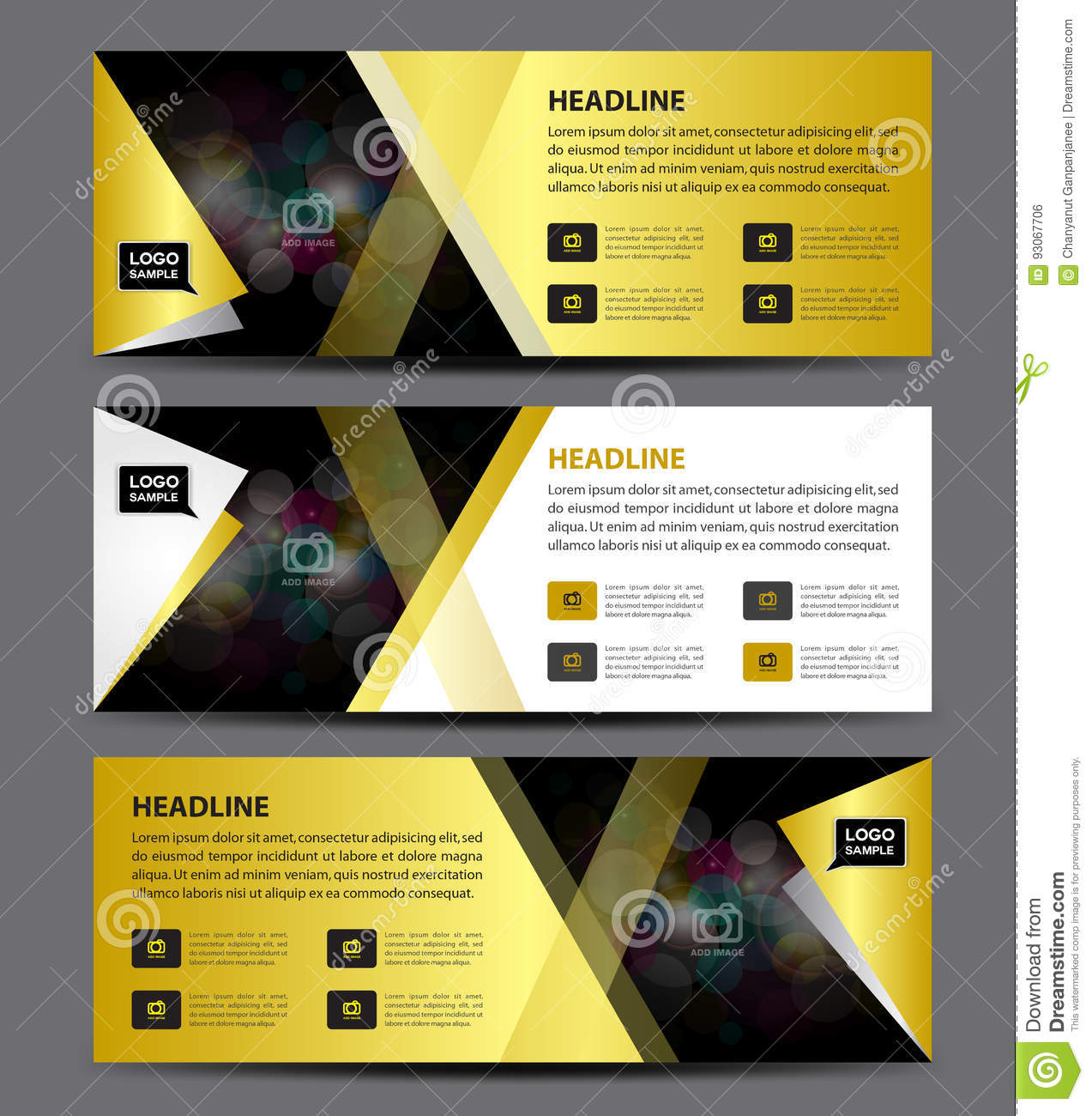gold banner template vector horizontal banneradvertising stock