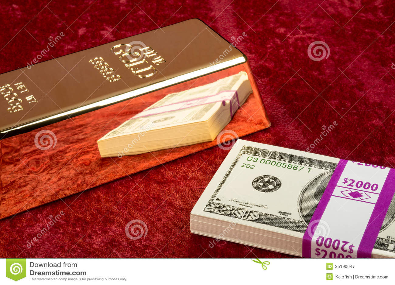 Download Gold Bar And Cash Stock Image Of Felt Ingot
