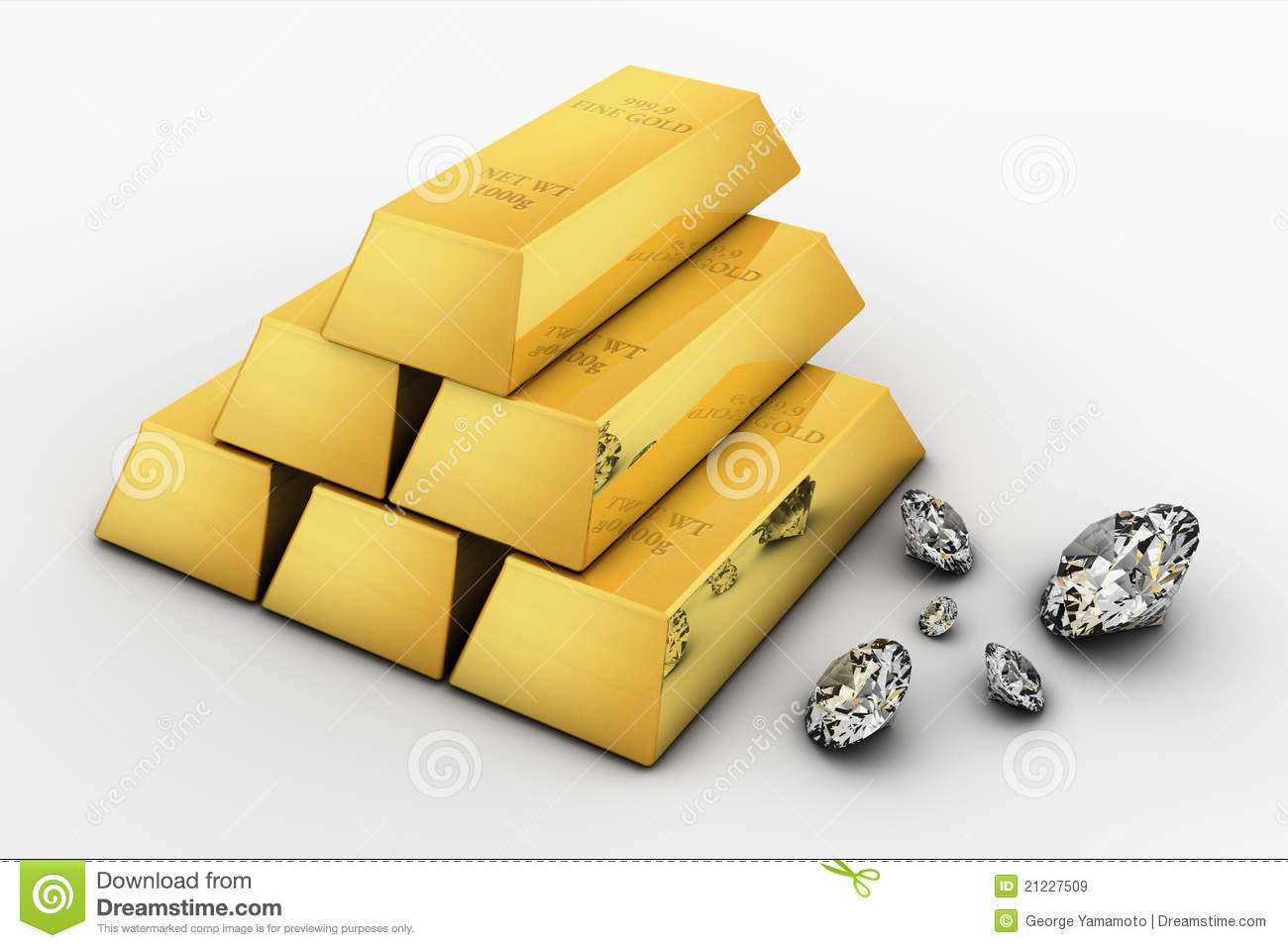 Royalty Free Stock Images  Gold Bar and DiamondsGold And Diamonds
