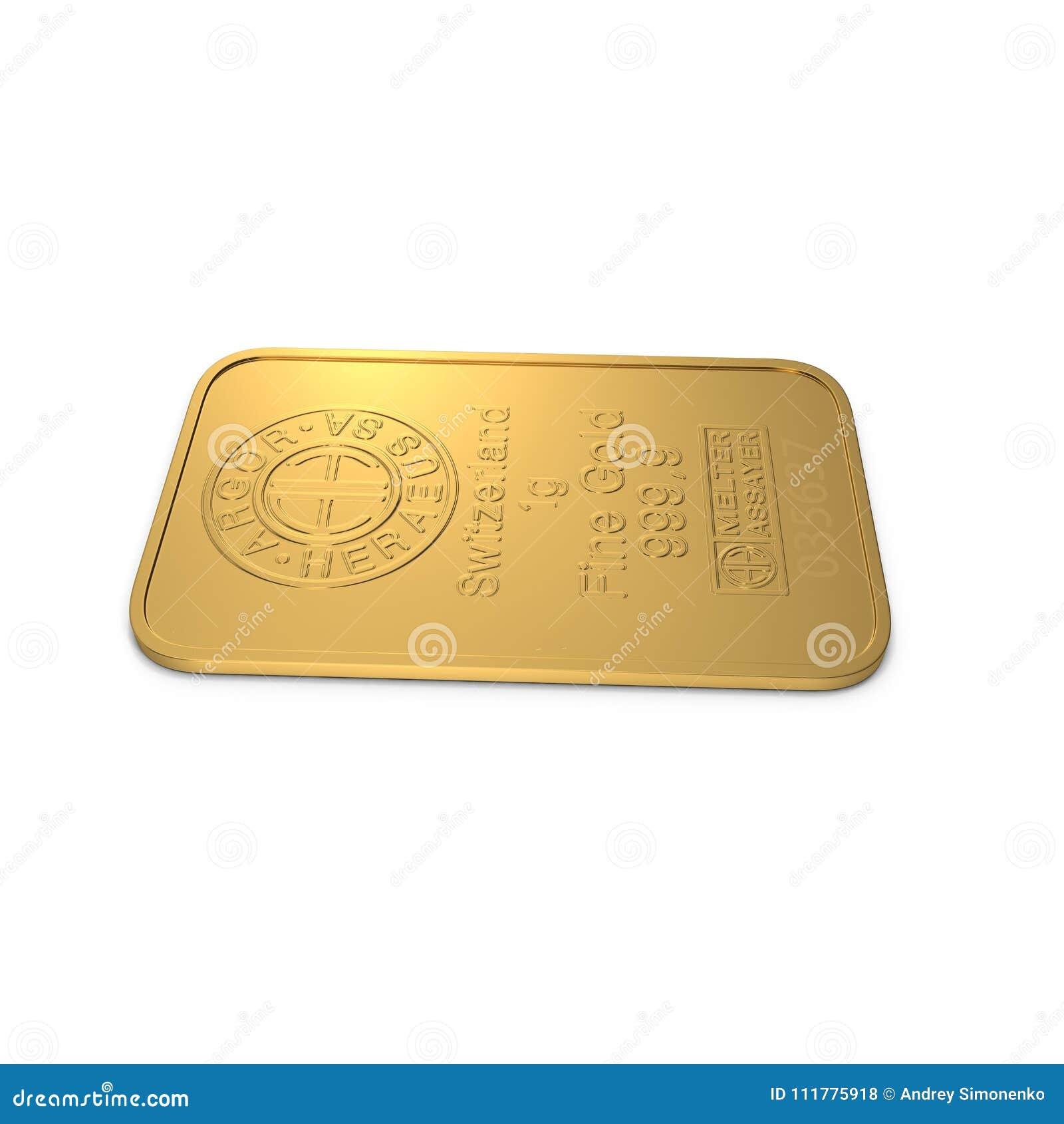 Gold bar 1g isolated on white. 3D illustration
