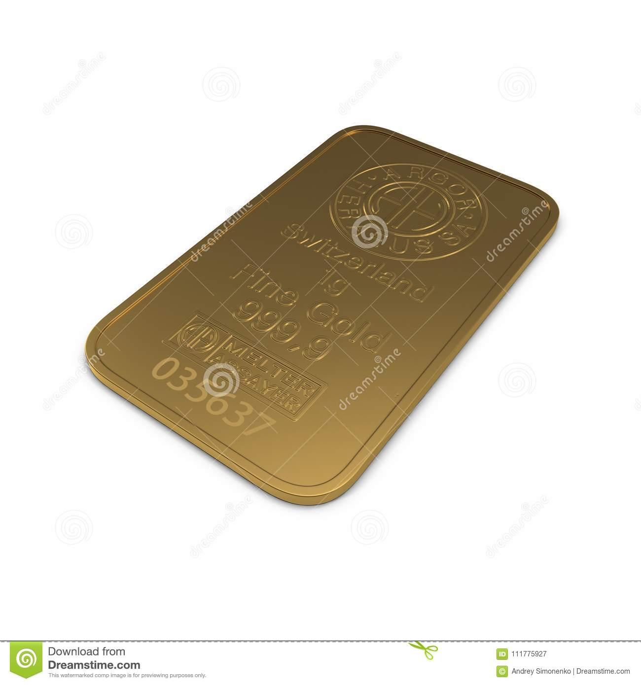 Gold bar 1g isolated on white. 3D illustration