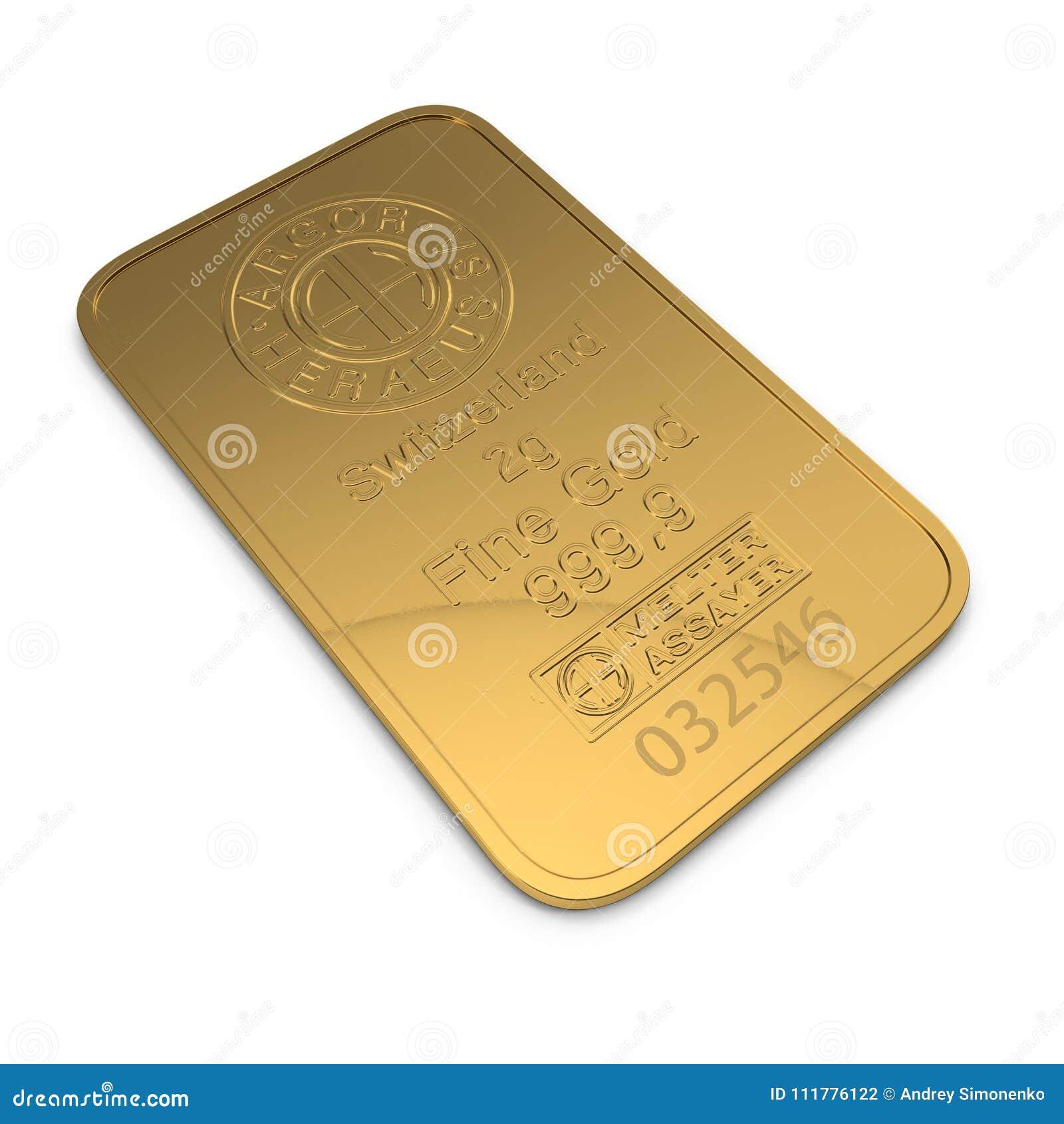 Gold bar 2g isolated on white. 3D illustration