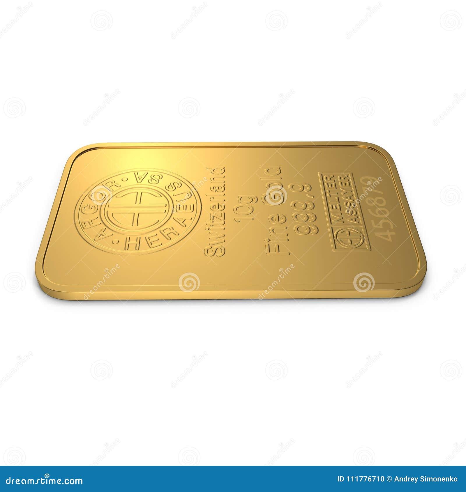Gold bar 10g isolated on white. 3D illustration