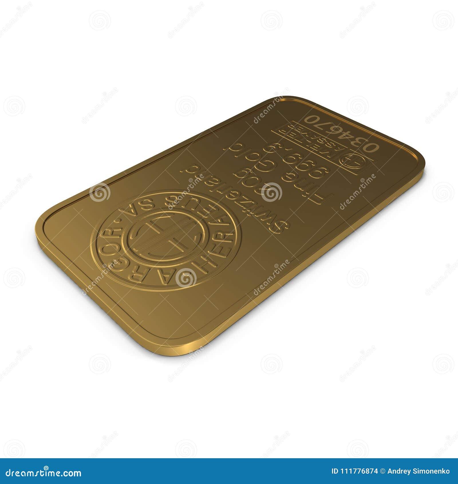 Gold bar 20g isolated on white. 3D illustration
