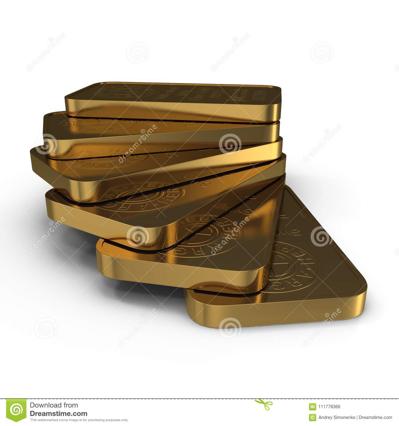 Gold bar 100g isolated on white. 3D illustration