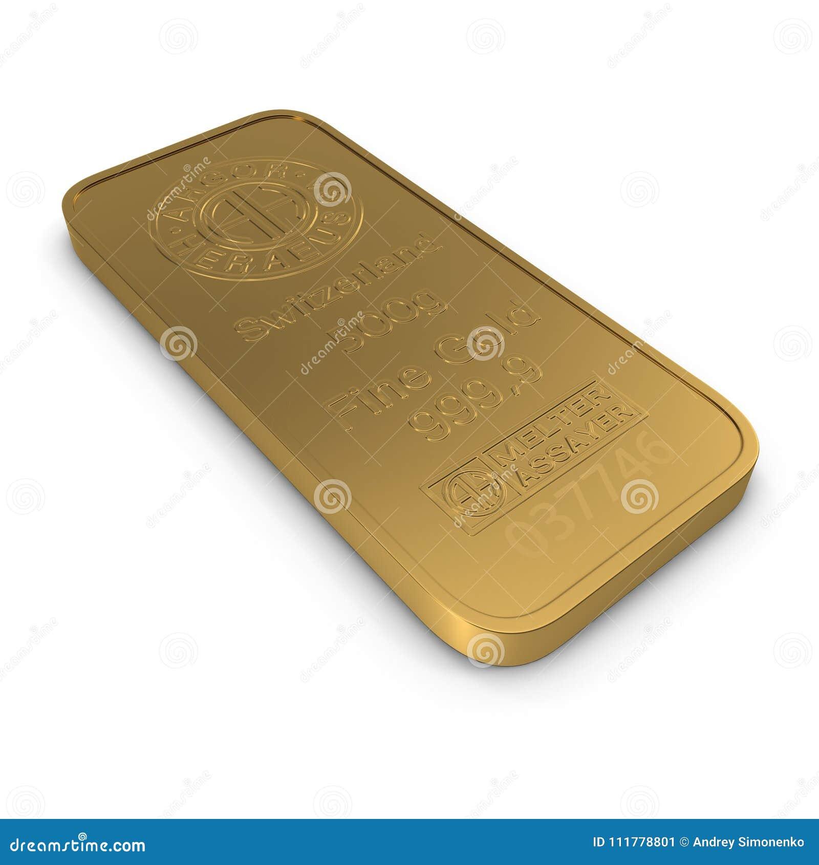 Gold bar 500g isolated on white. 3D illustration