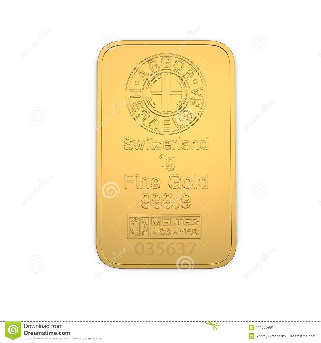 Gold bar 1g isolated on white. Top view. 3D illustration