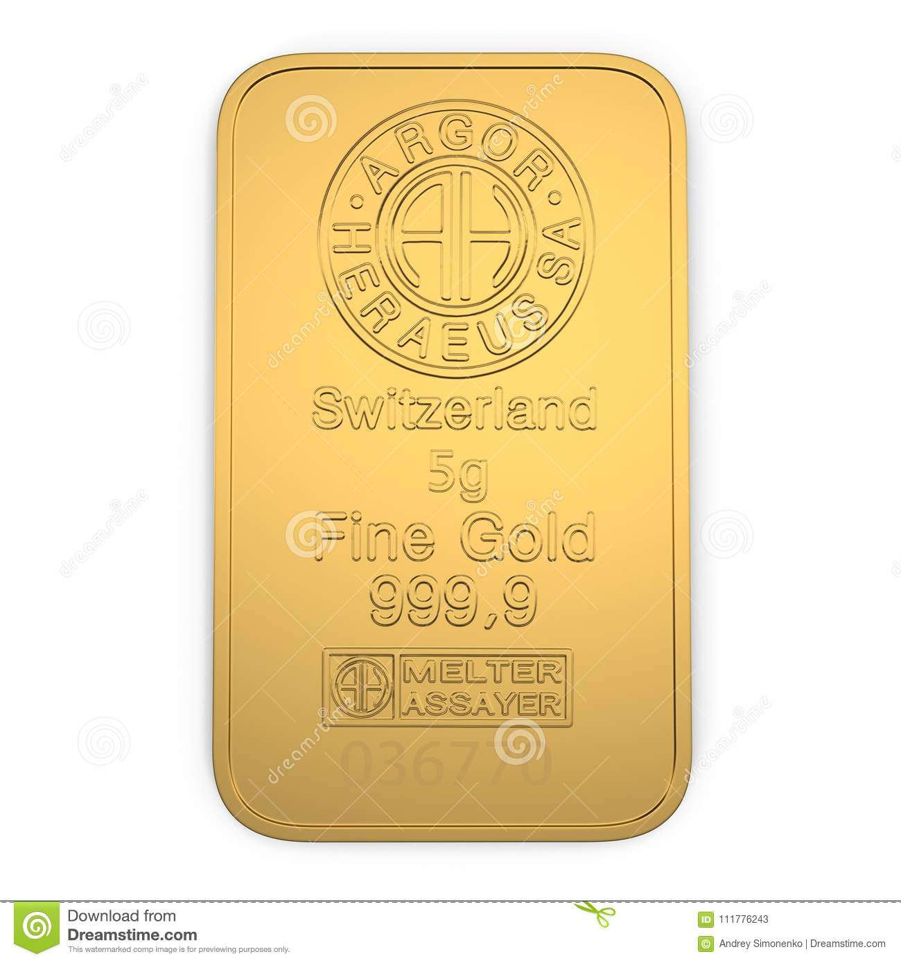 Gold bar 5g isolated on white. Top view. 3D illustration