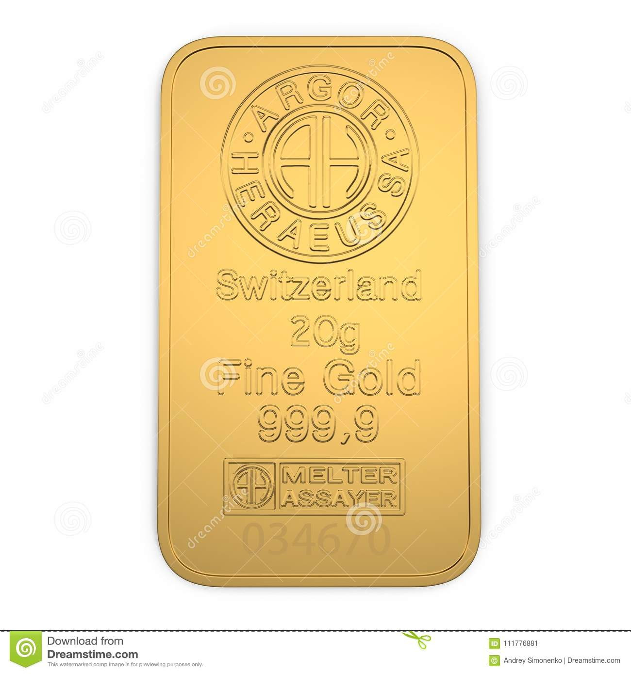 Gold bar 20g isolated on white. Top view. 3D illustration