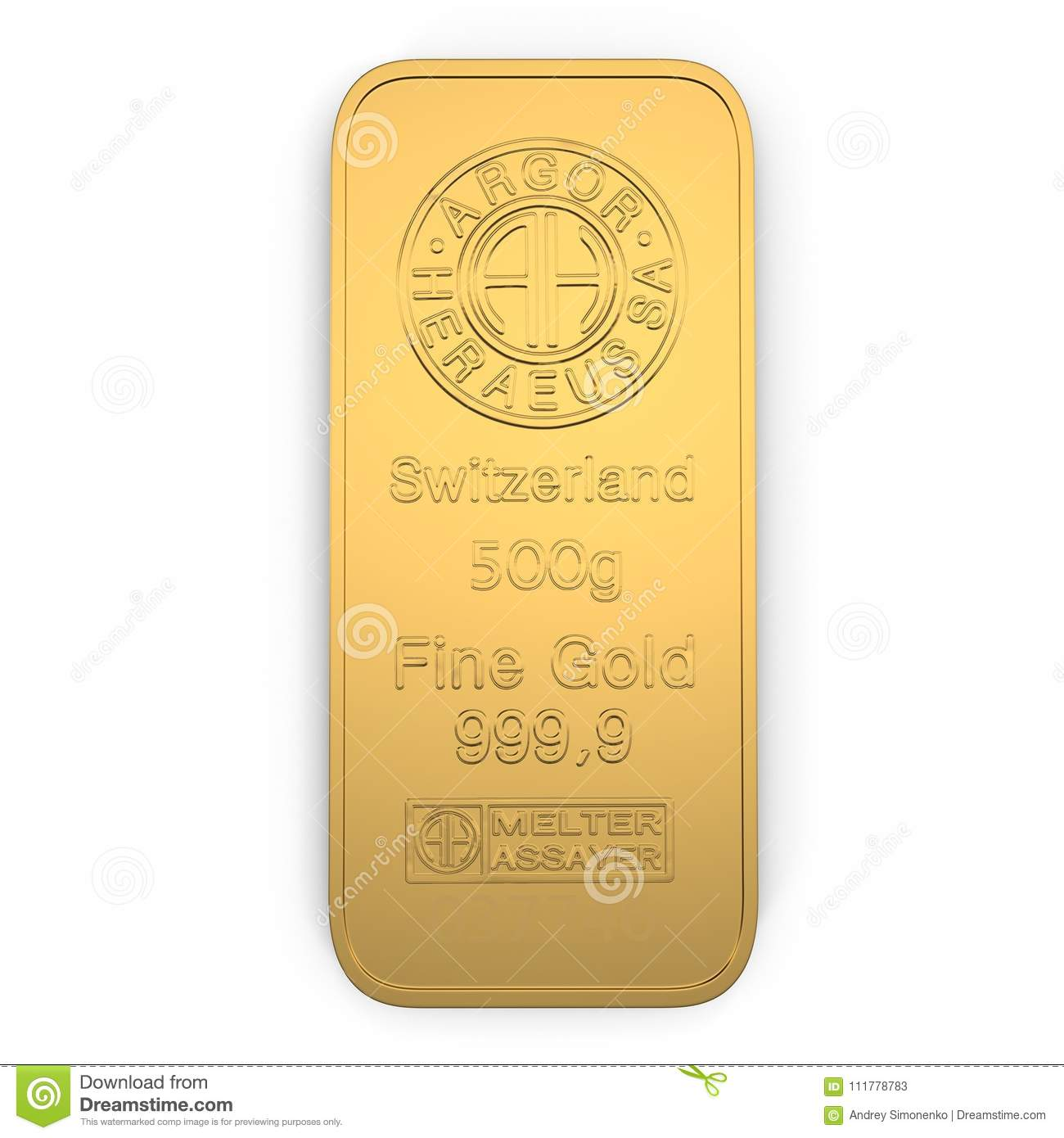 Gold bar 500g isolated on white. Top view. 3D illustration