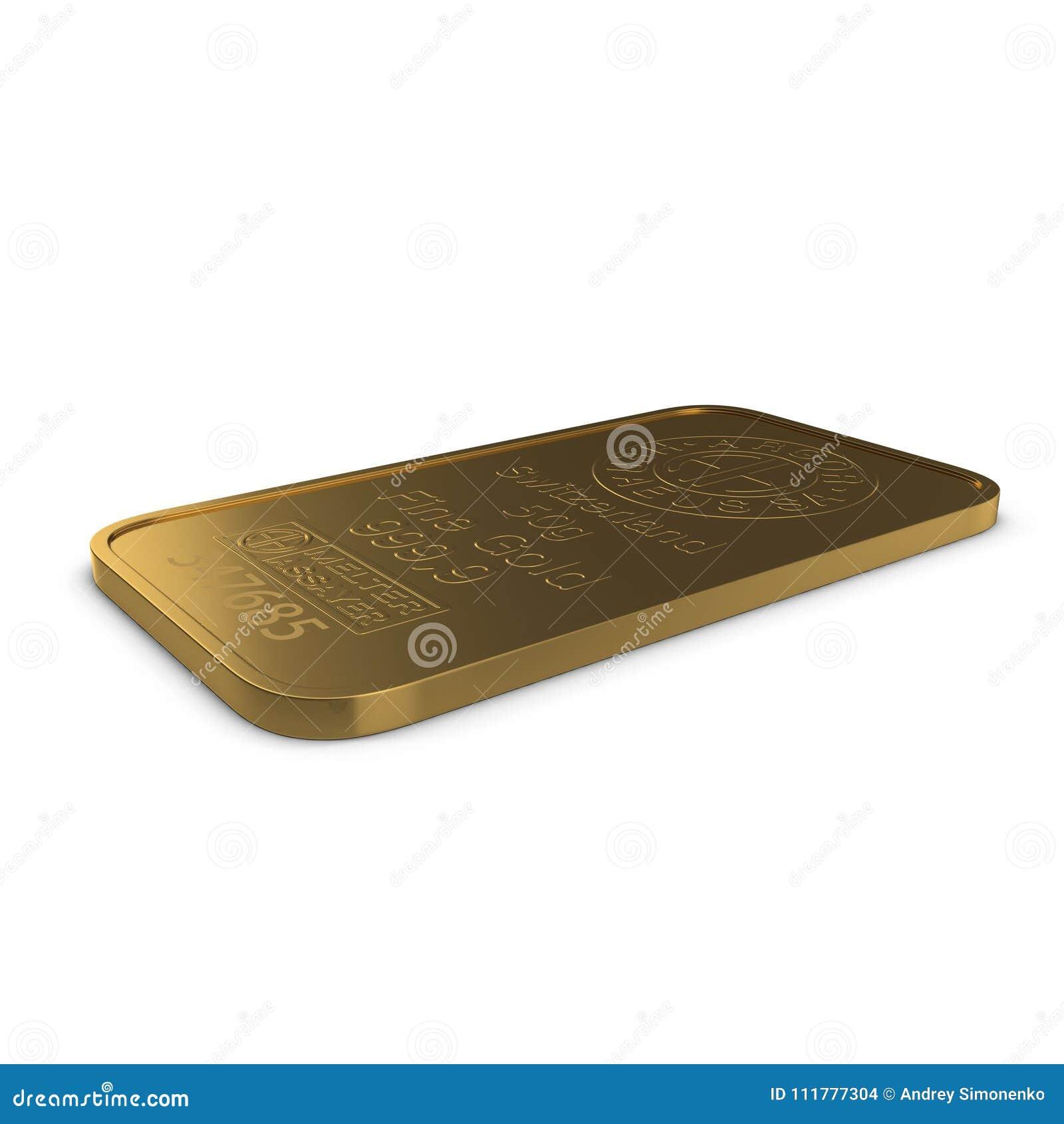 Gold bar 50g isolated on white. 3D illustration