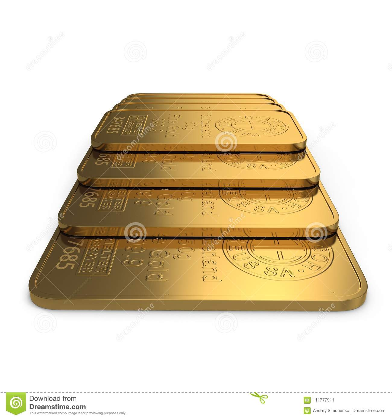 Gold bar 50g isolated on white. 3D illustration