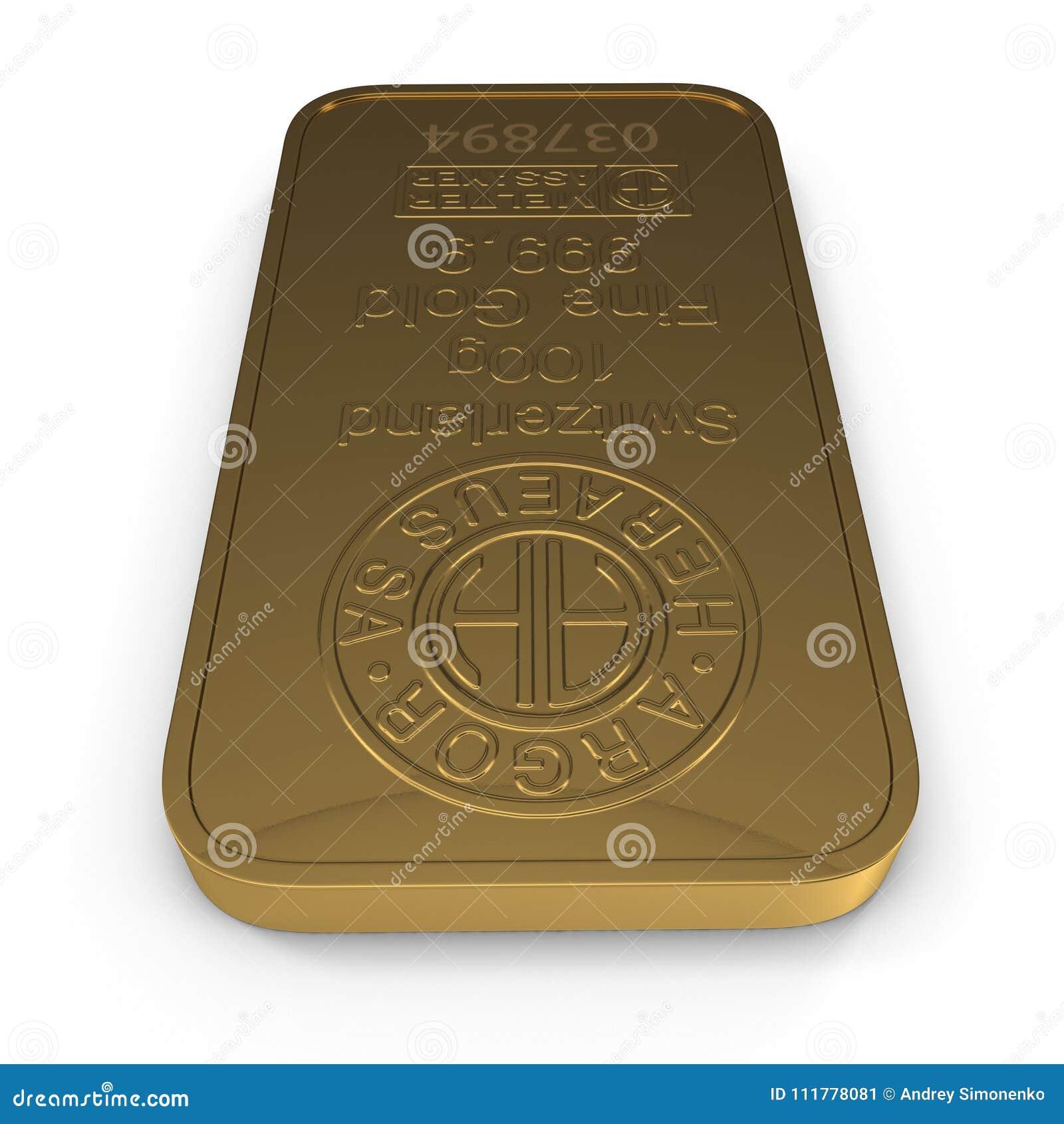 Gold bar 100g isolated on white. 3D illustration