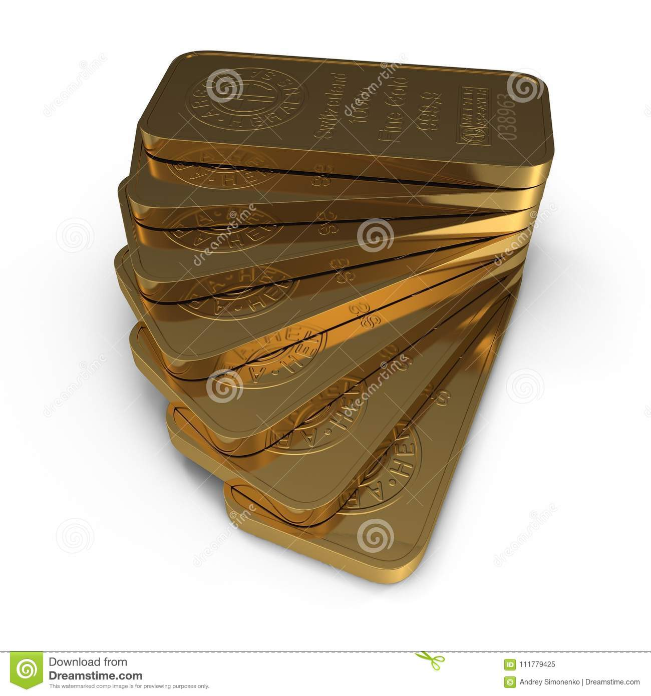 Gold bar 1000g isolated on white. 3D illustration