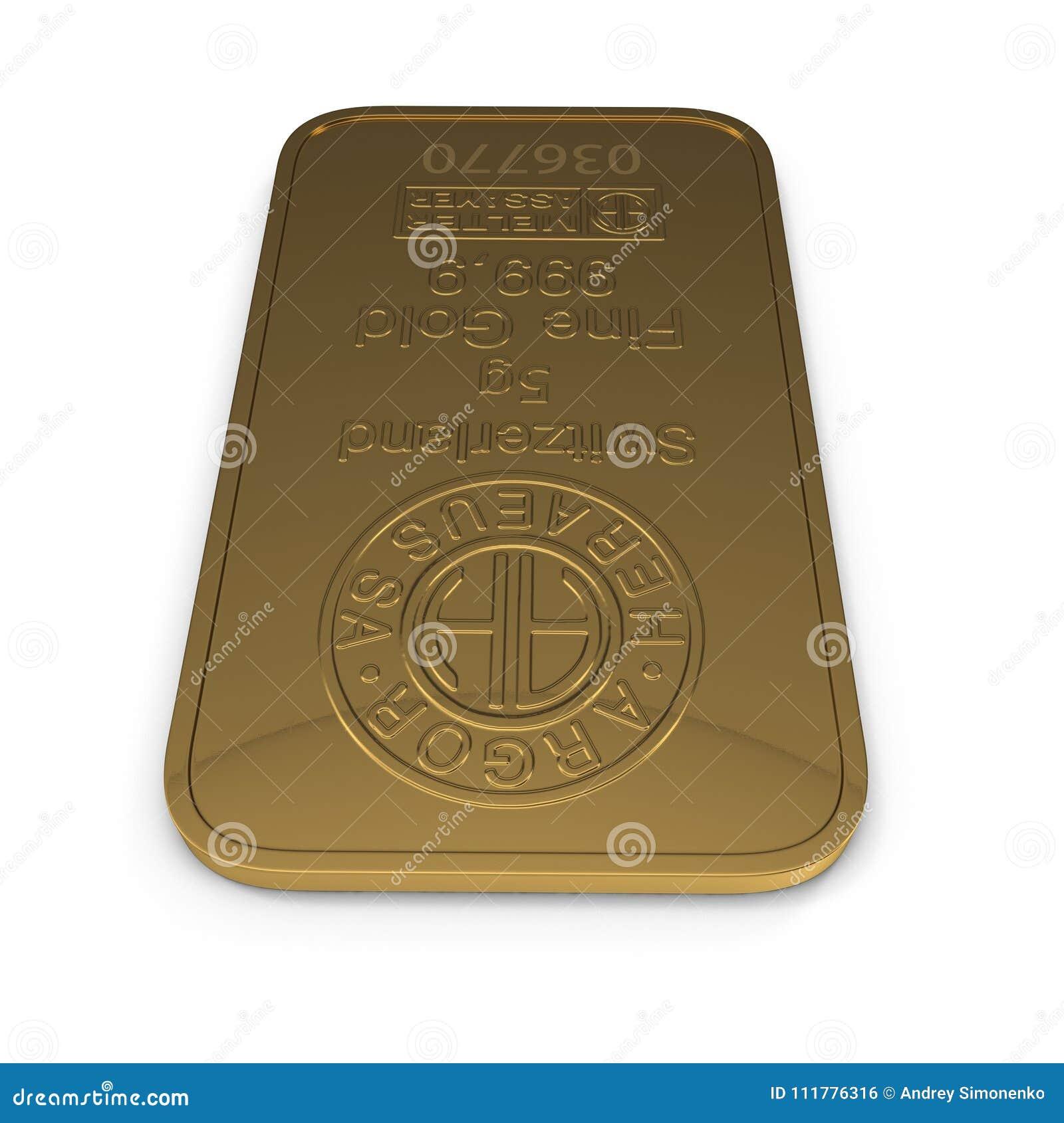 Gold bar 5g isolated on white. 3D illustration