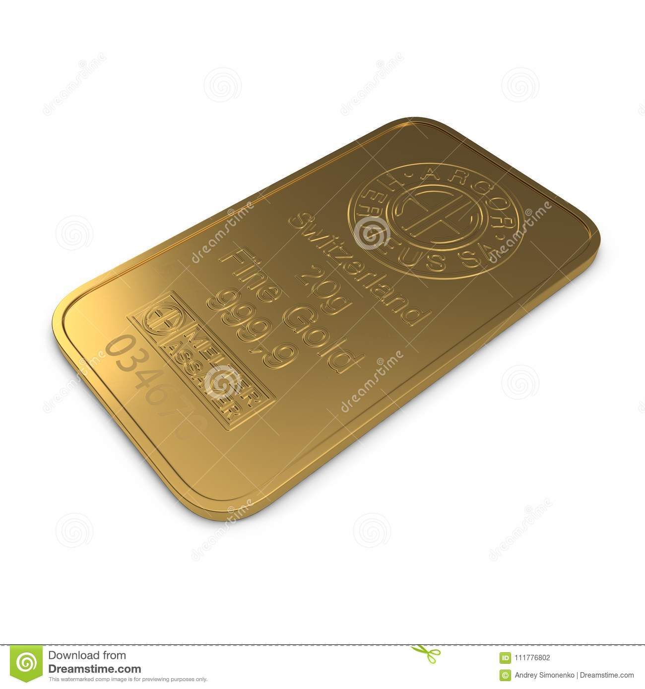 Gold bar 20g isolated on white. 3D illustration