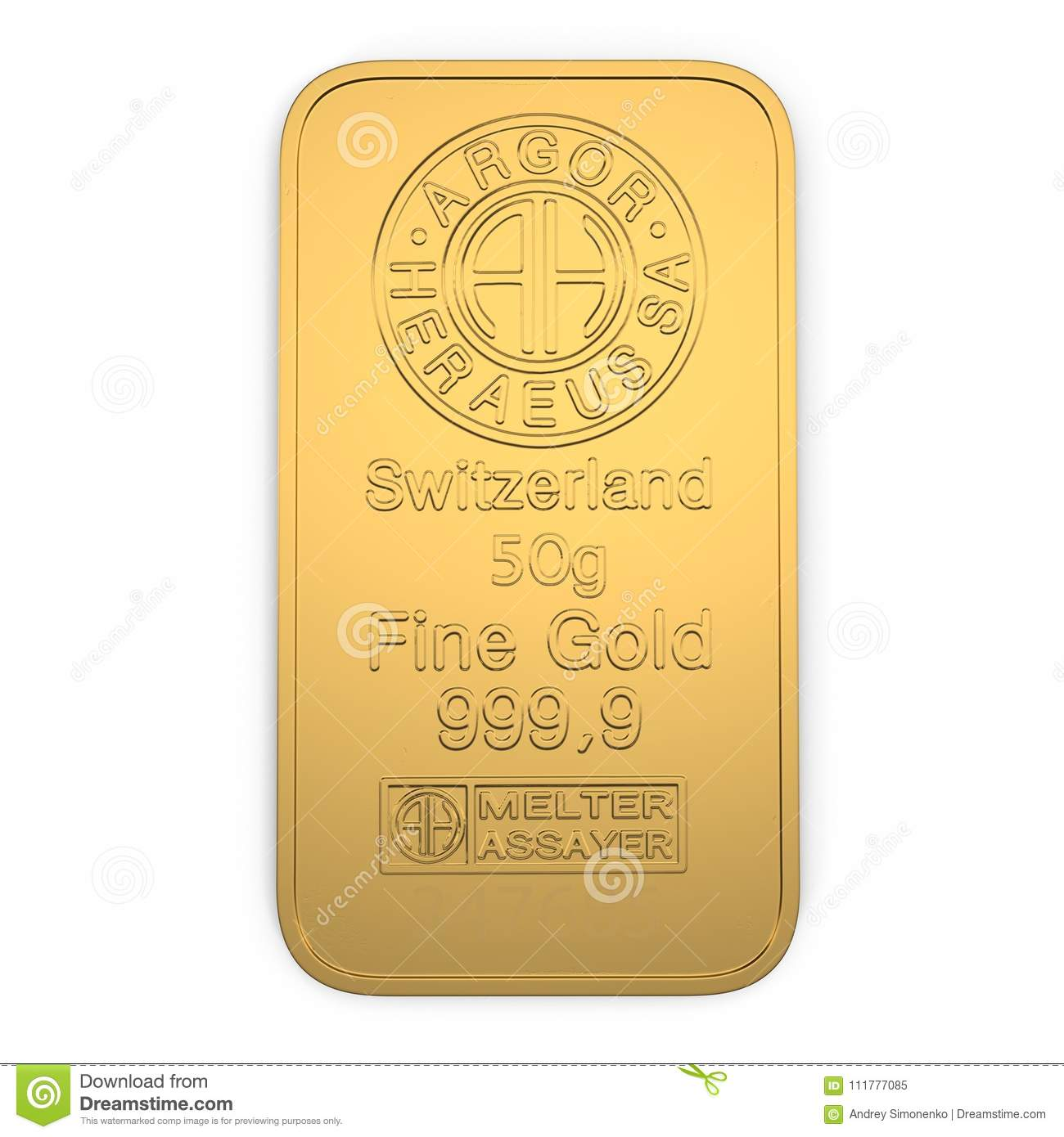 Gold bar 50g isolated on white. Top view. 3D illustration