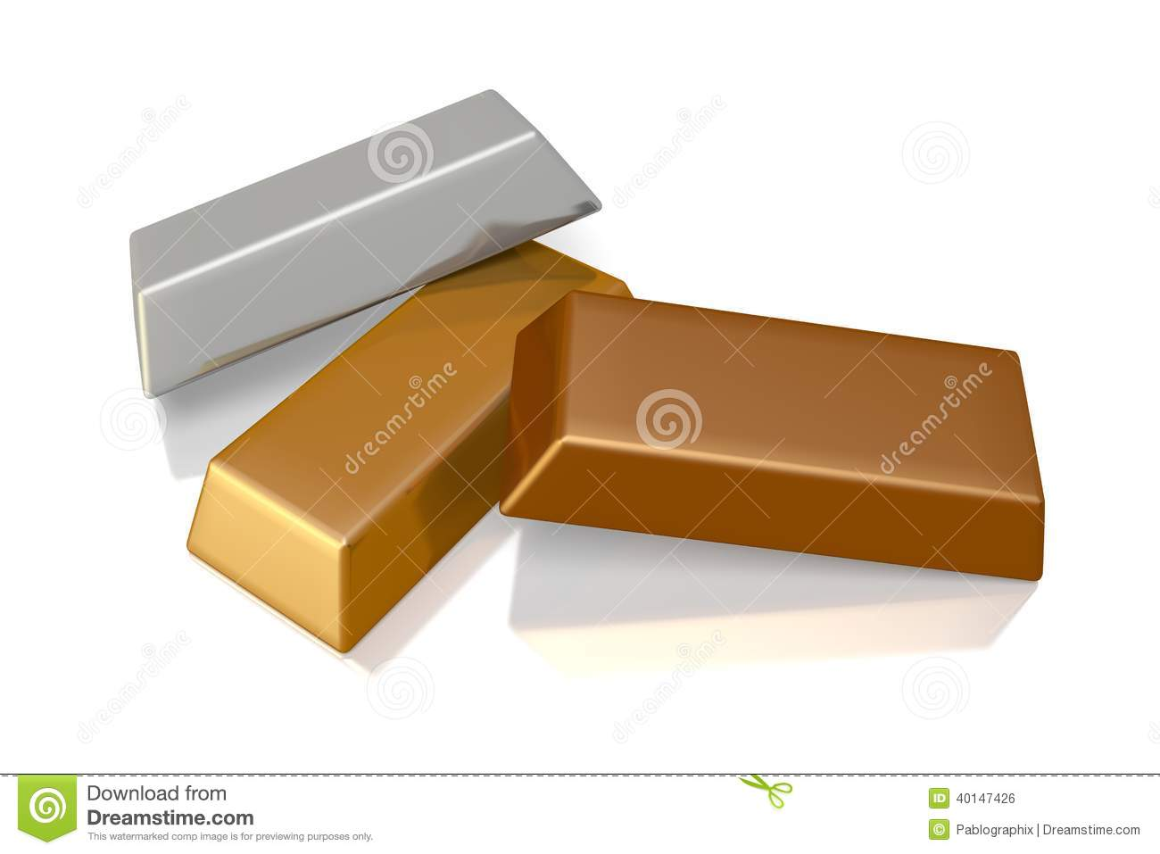 3d gold and silver bars stock illustration image of