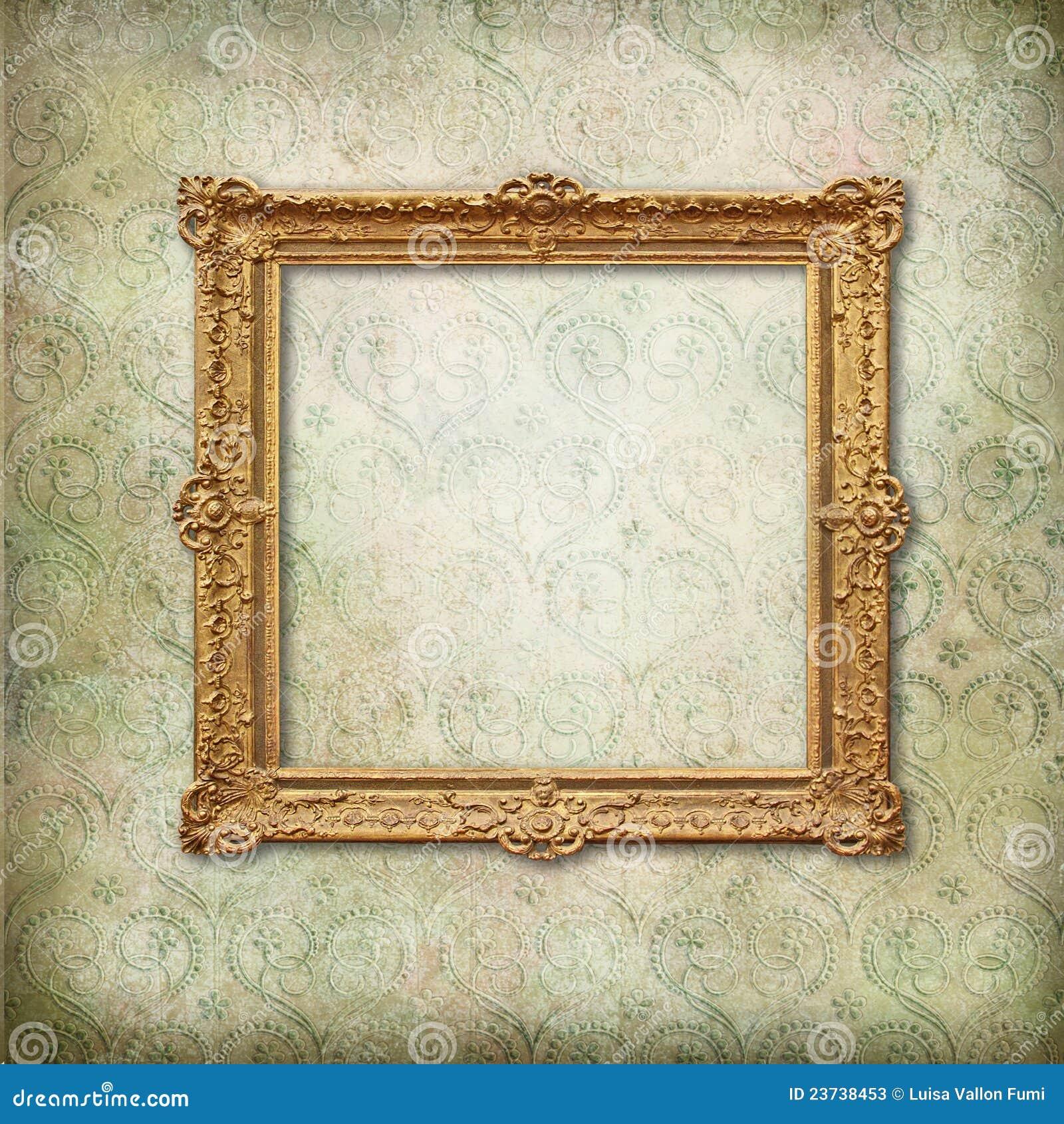 Gold Baroque Empty Frame On Victorian Wallpaper Stock Photos ...