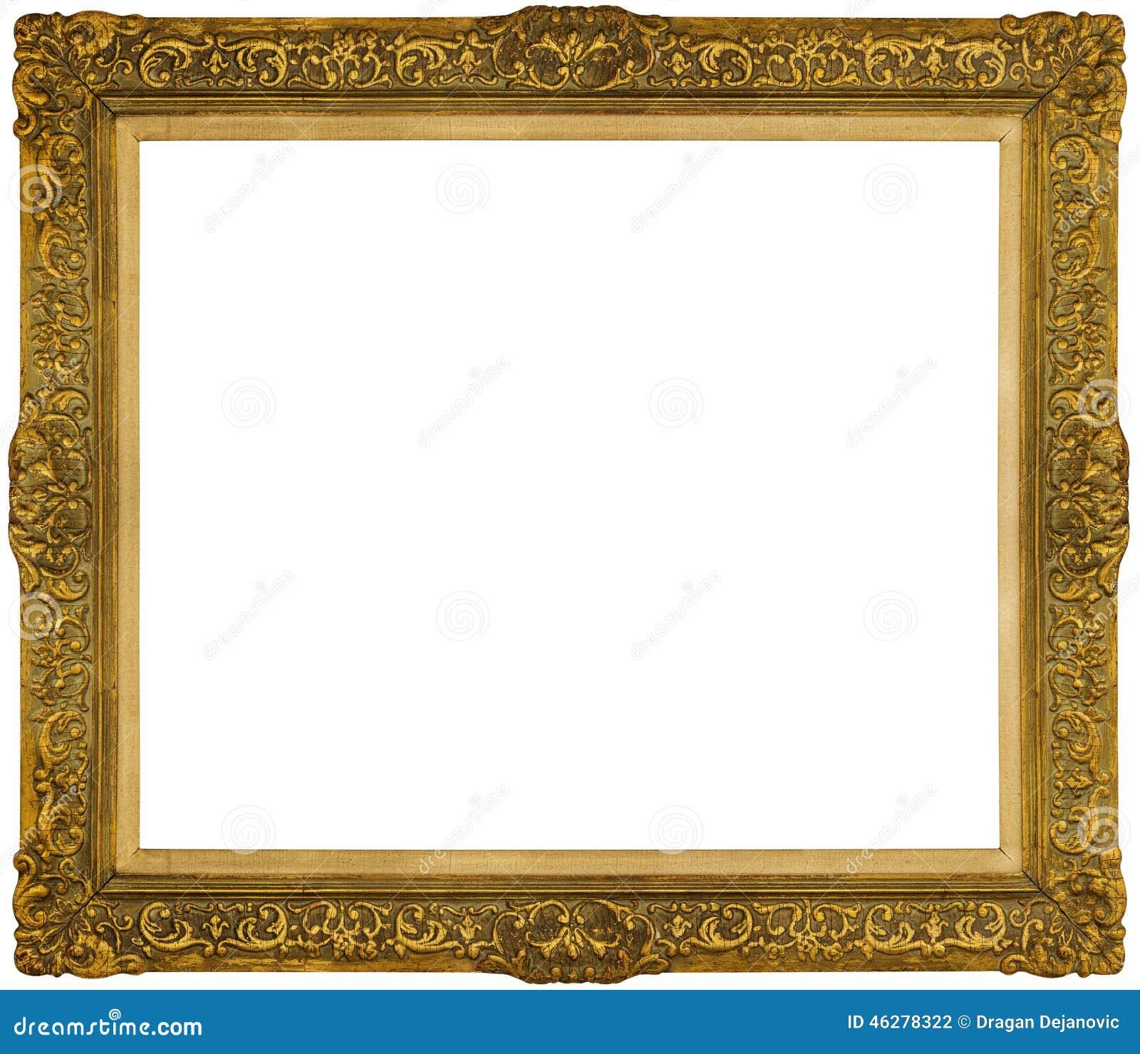 gold baroque frame isolated on white background stock photo image