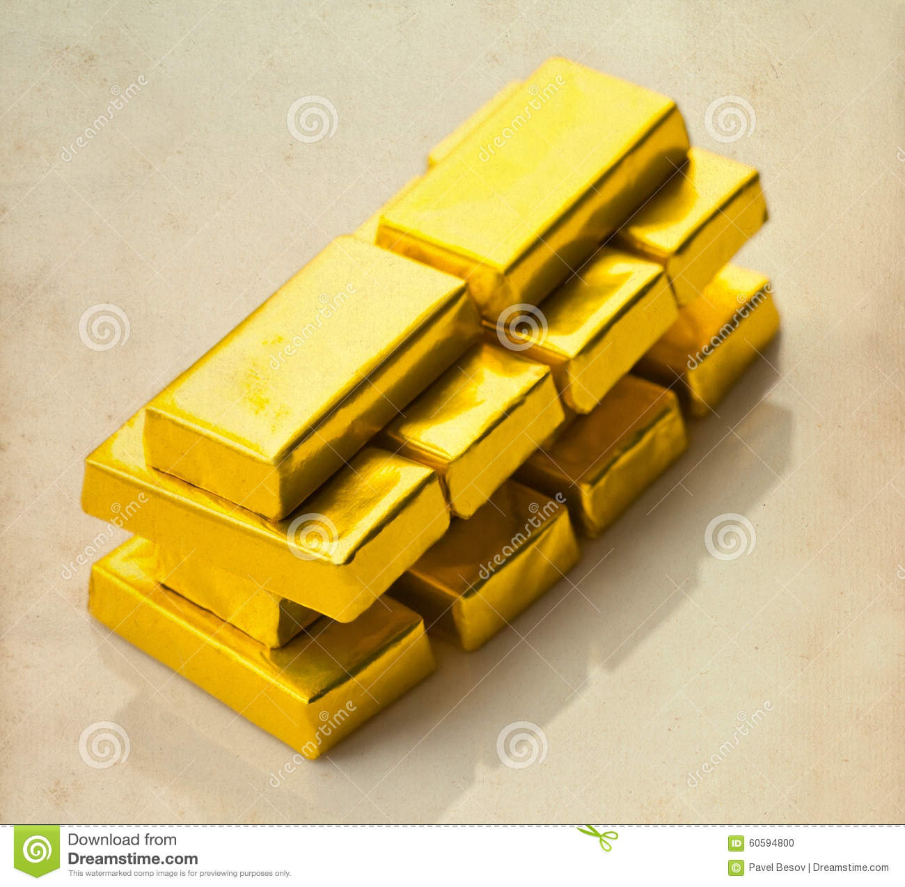 Gold Bars On Aged Paper Background