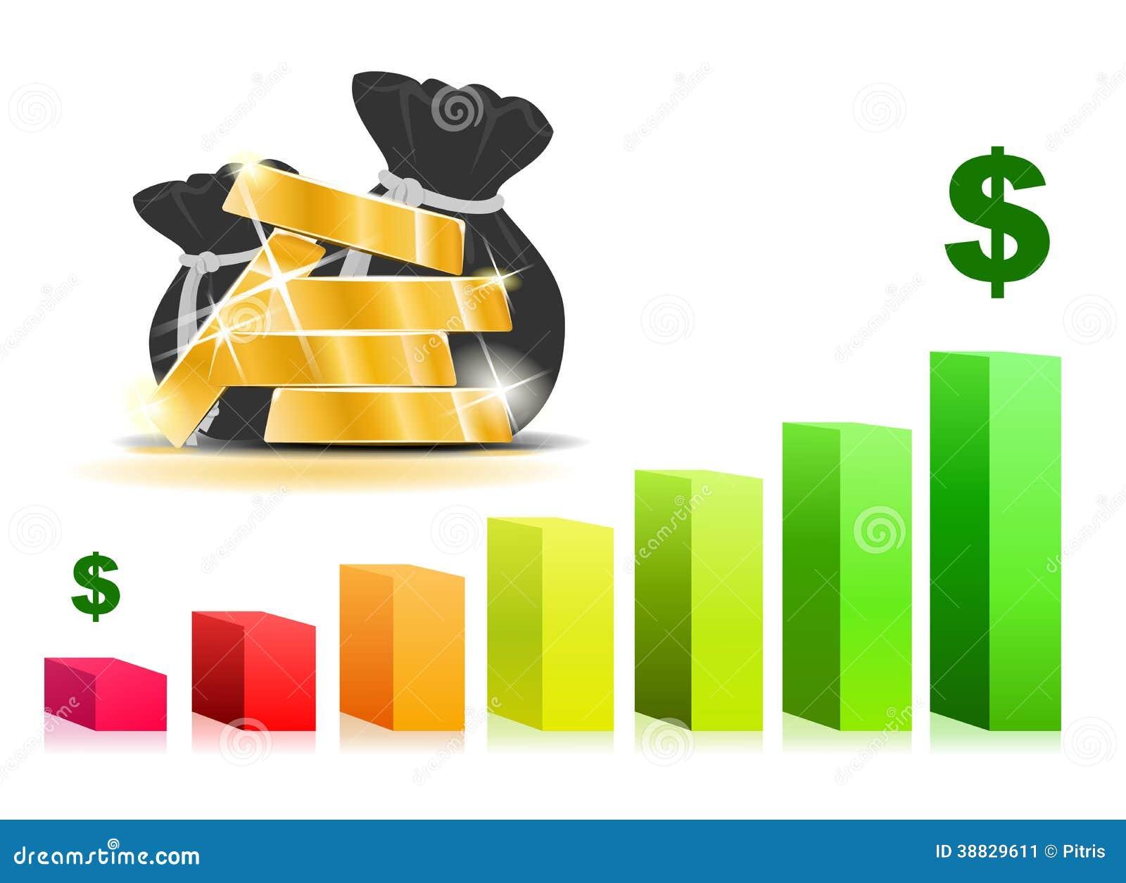 gold bars from bar graph stock vector. illustration of deposit