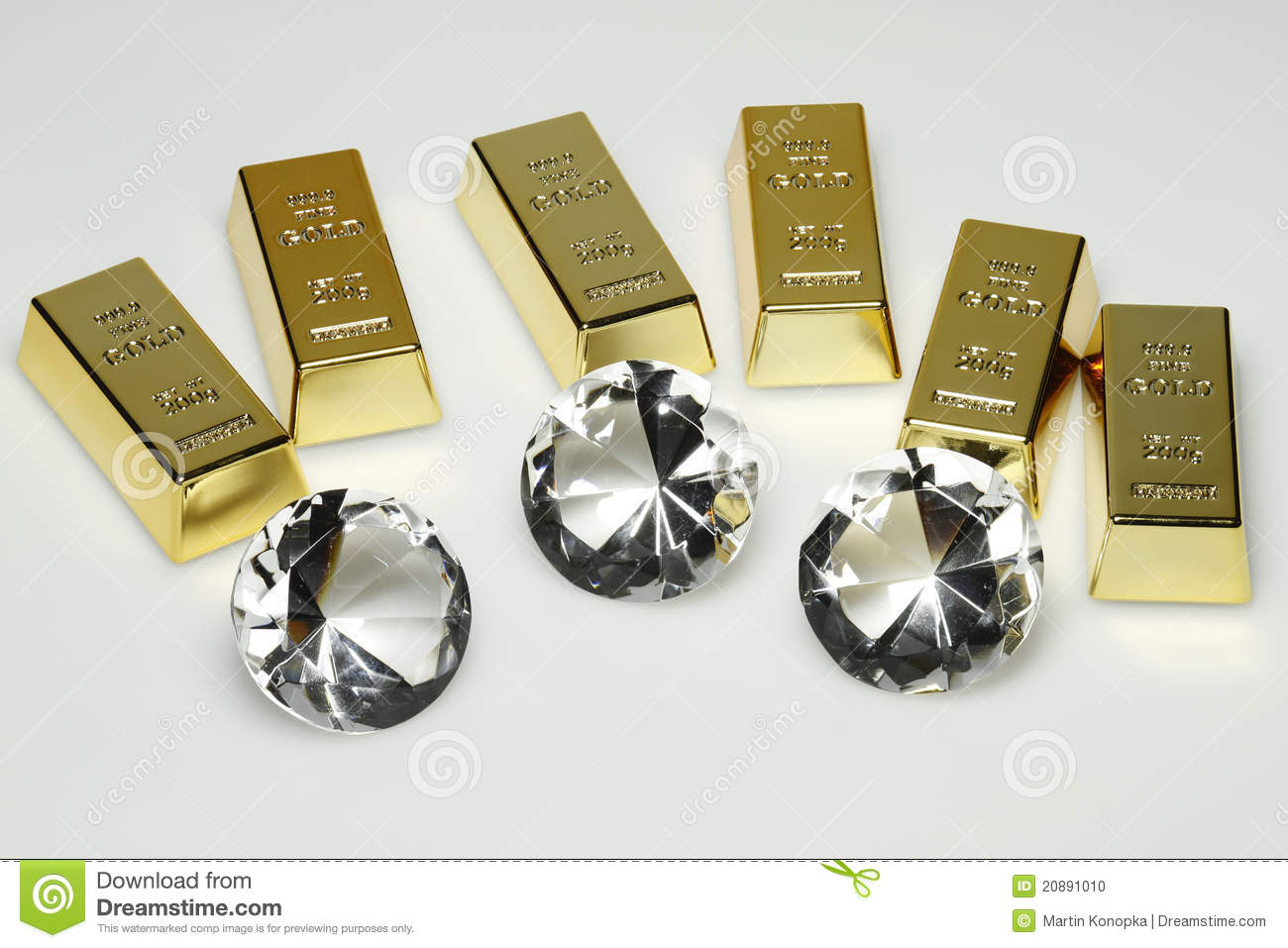 Gold Bars And Diamonds Stock Photo Image 20891010