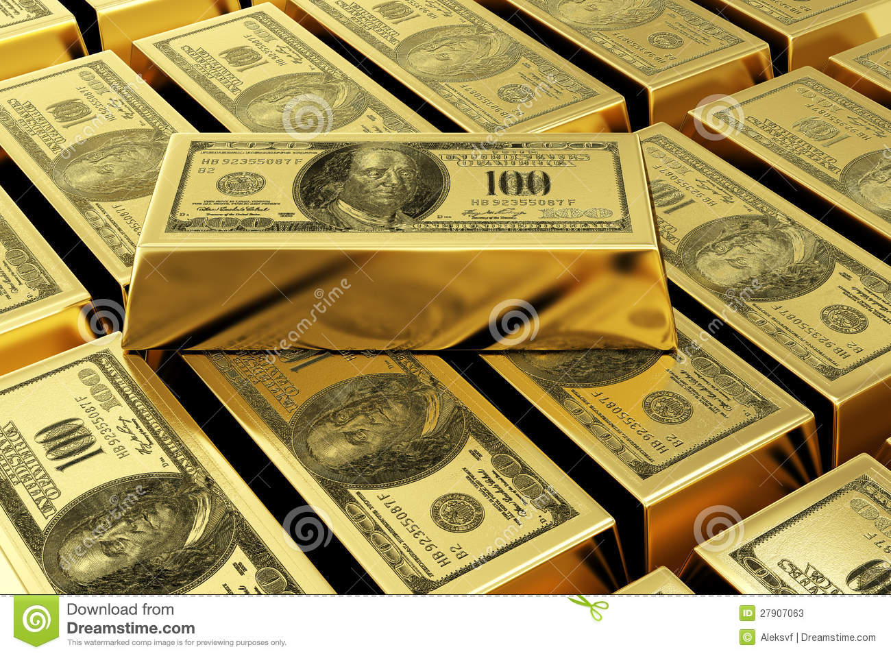 Gold Bars With Dollar Stamp Stock Photos - Image: 27907063