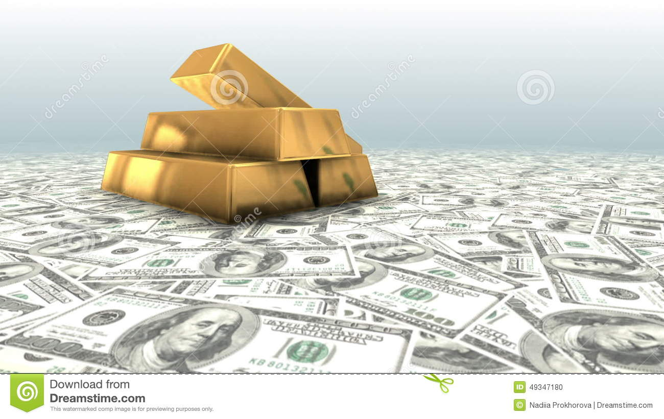 Gold Bars And Money Stock Footage Illustration Of