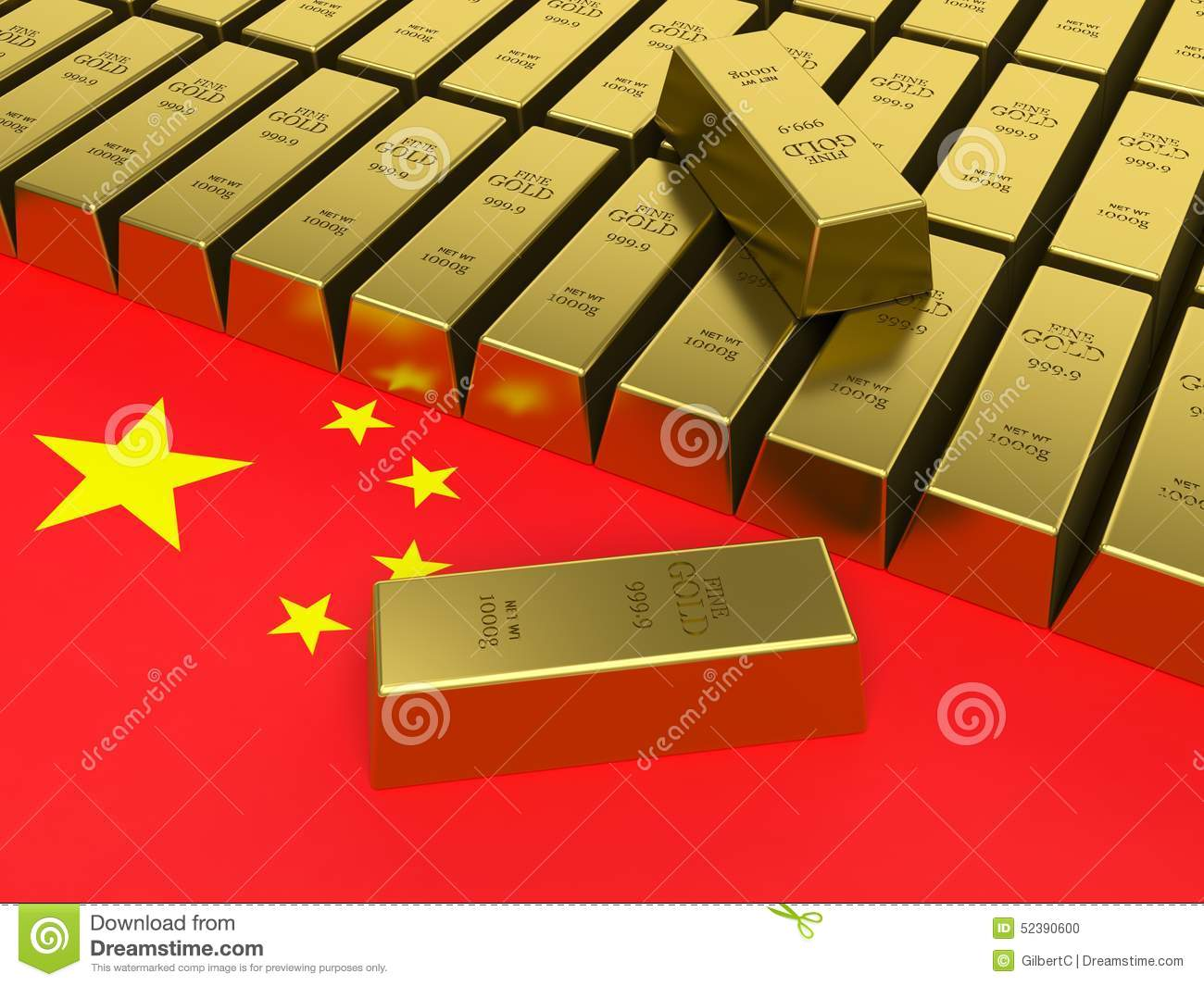 Gold bars on top of a china flag.