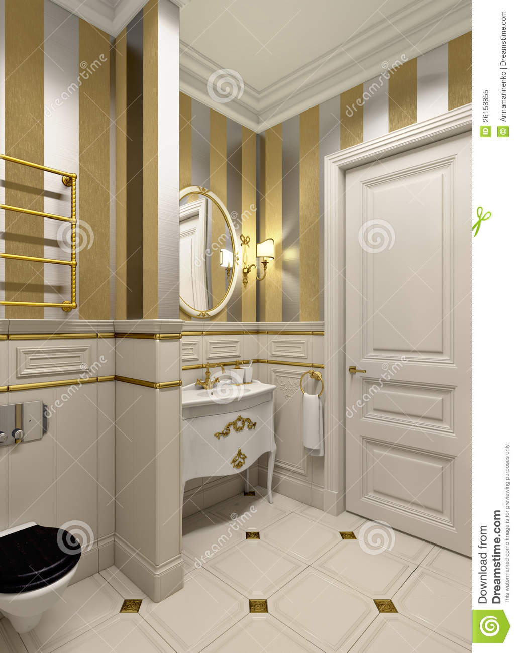 Gold Bathroom Royalty Free Stock Photo Image 26158855