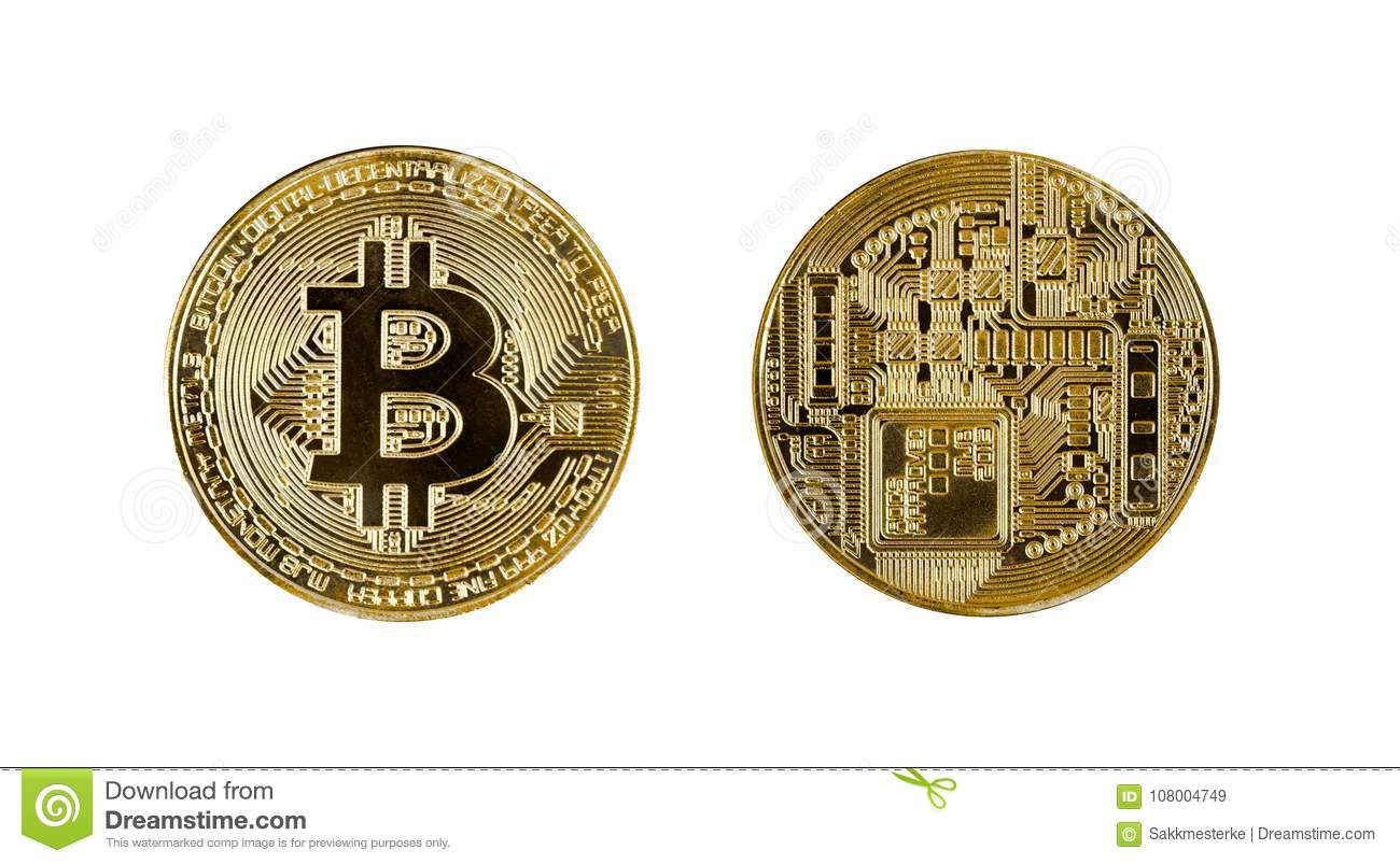 Gold Bitcoin Coin Head And Tail On White Stock Image - Image