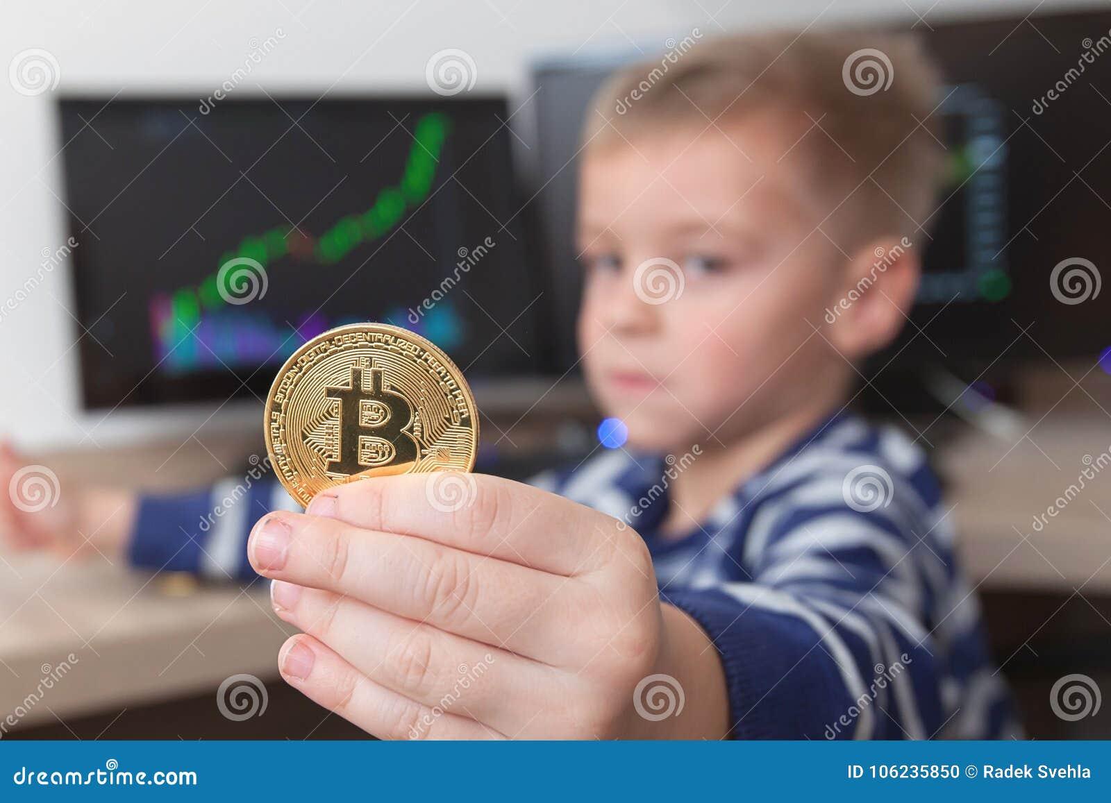 Gold Bitcoin coin stock photo  Image of golden, businessman