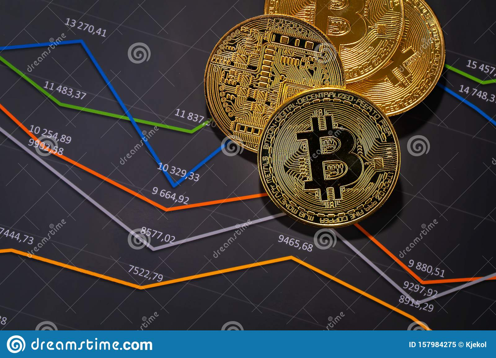 Gold Bitcoin On Financial Charts For Cryptocurrency Prices Stock Image - Image of charts, gold ...