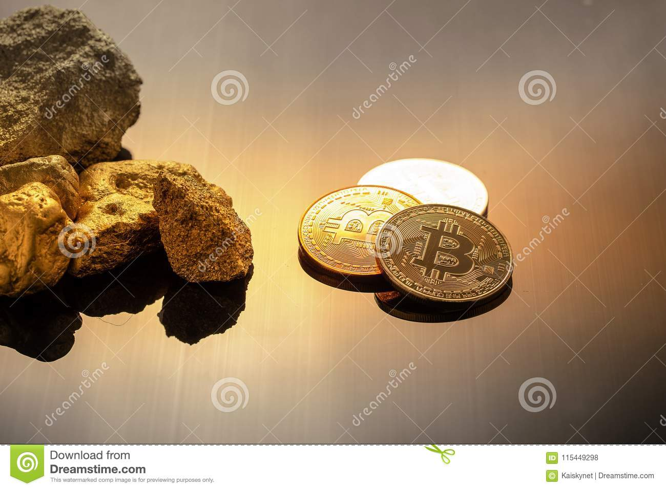 Download Gold Bitcoin Physical Cryptocurrency In Golden Light Bu Stock Photo
