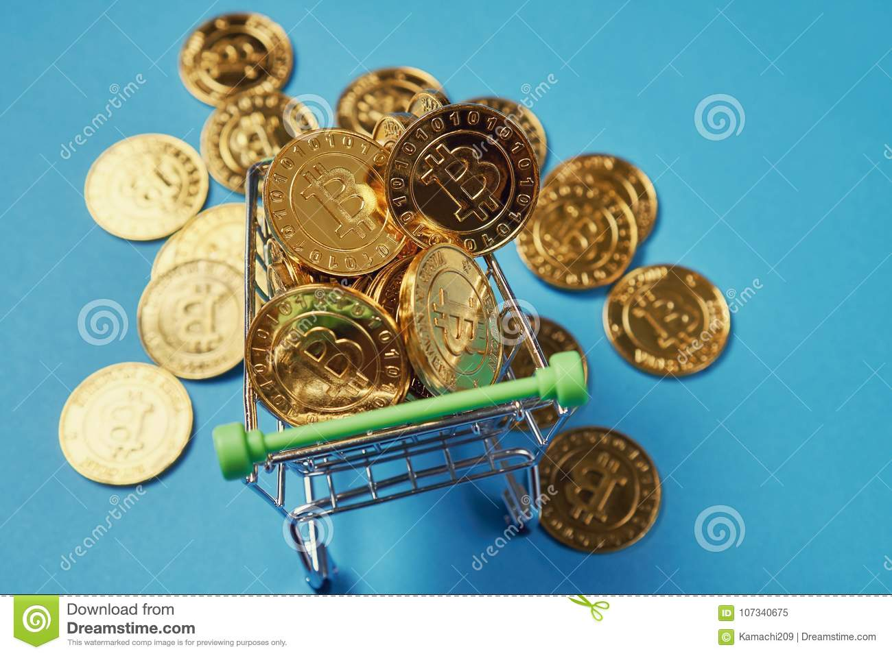 Gold Bitcoin Placed In A Small Shopping Cart  Digital Currency