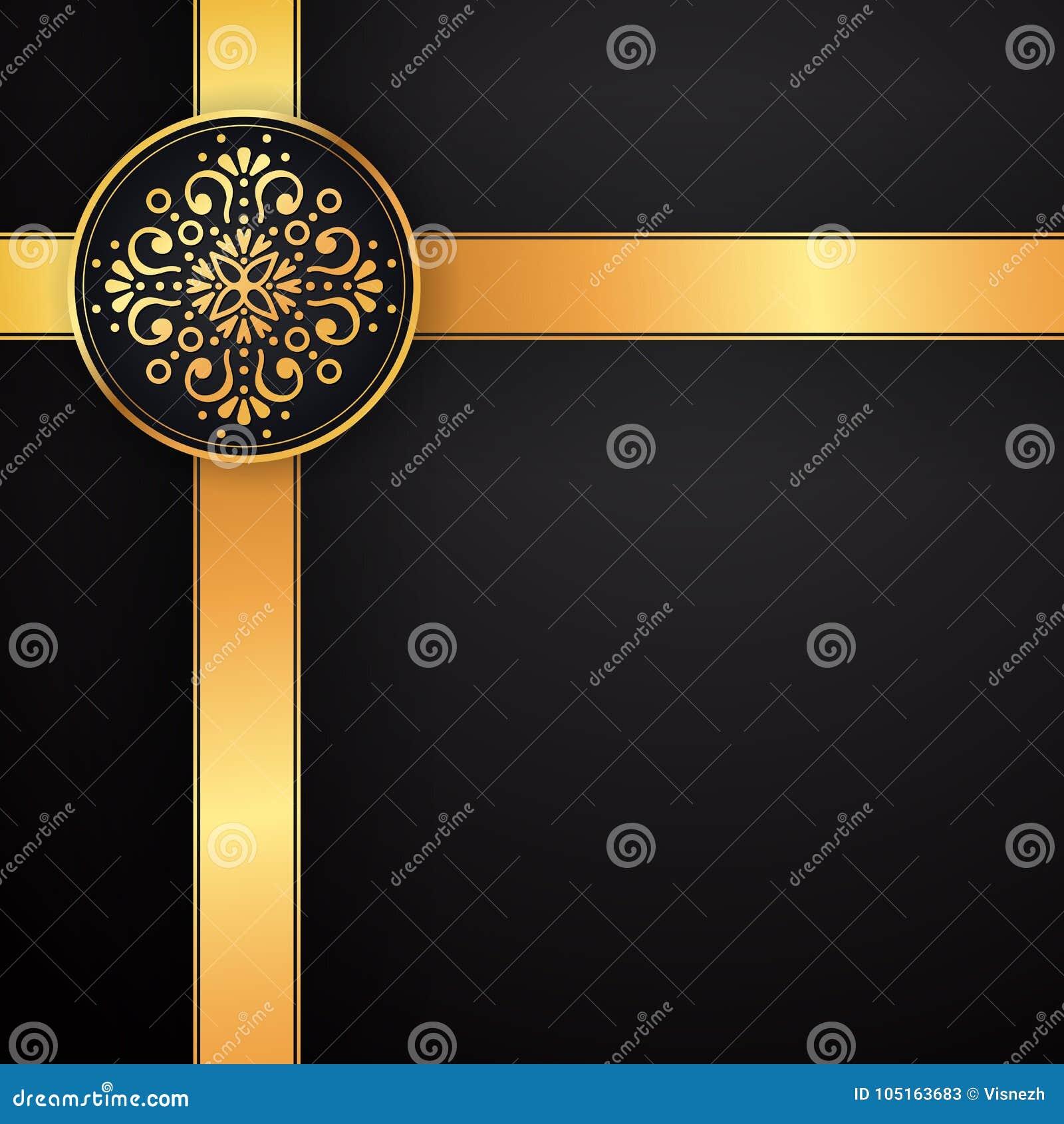 dc312964de9 Gold black background design vector. Sun Indian pattern. Eye peacock  feather frame. Oriental