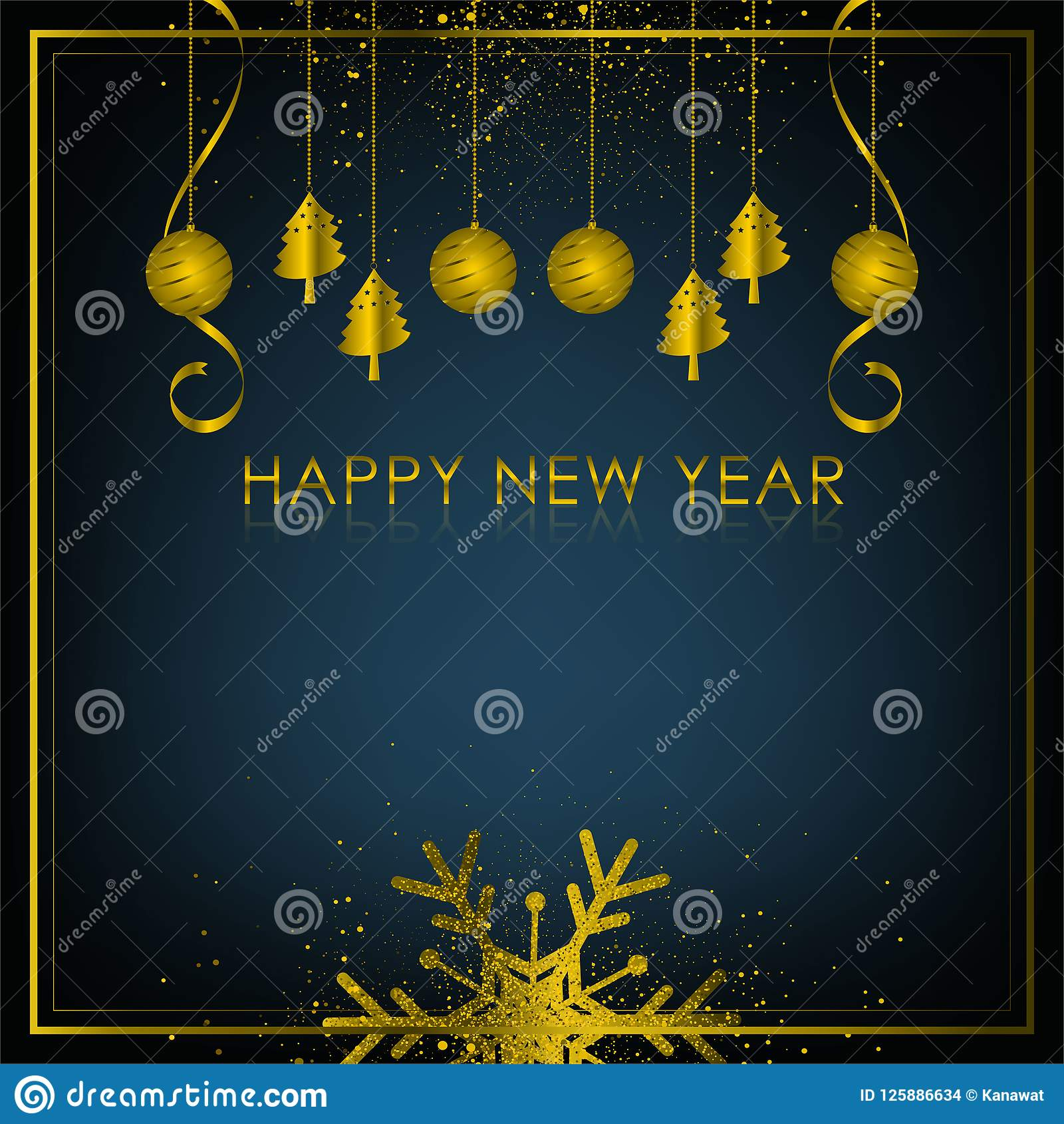 Christmas Season 2019 Gold And Black Background With Snowflake And Ball For Christmas
